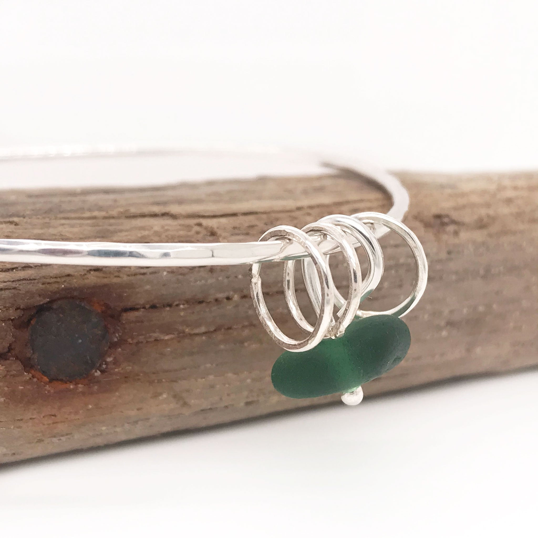 green seaglass bangle silver Kriket broadhurst jewelry
