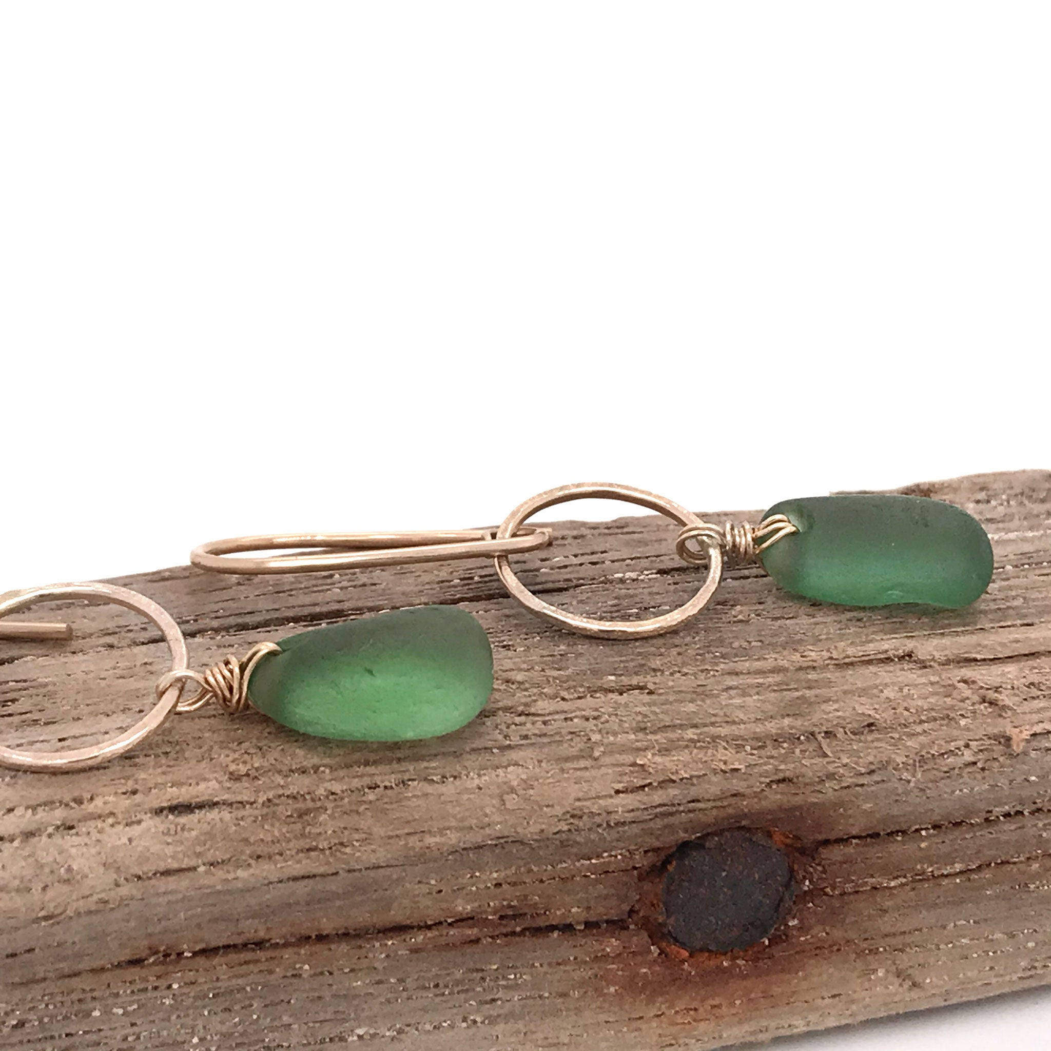 green earrings with beach glass and gold kriket broadhurst jewellery