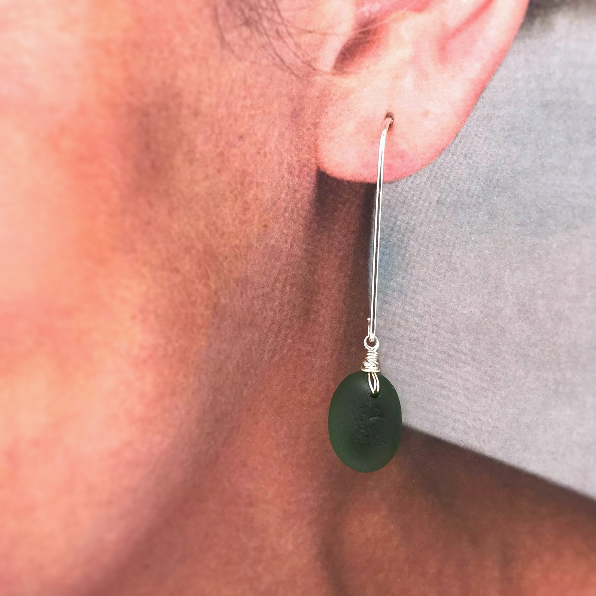 green seaglass earrings on sterling silver long drop design kriket broadhurst jewellery