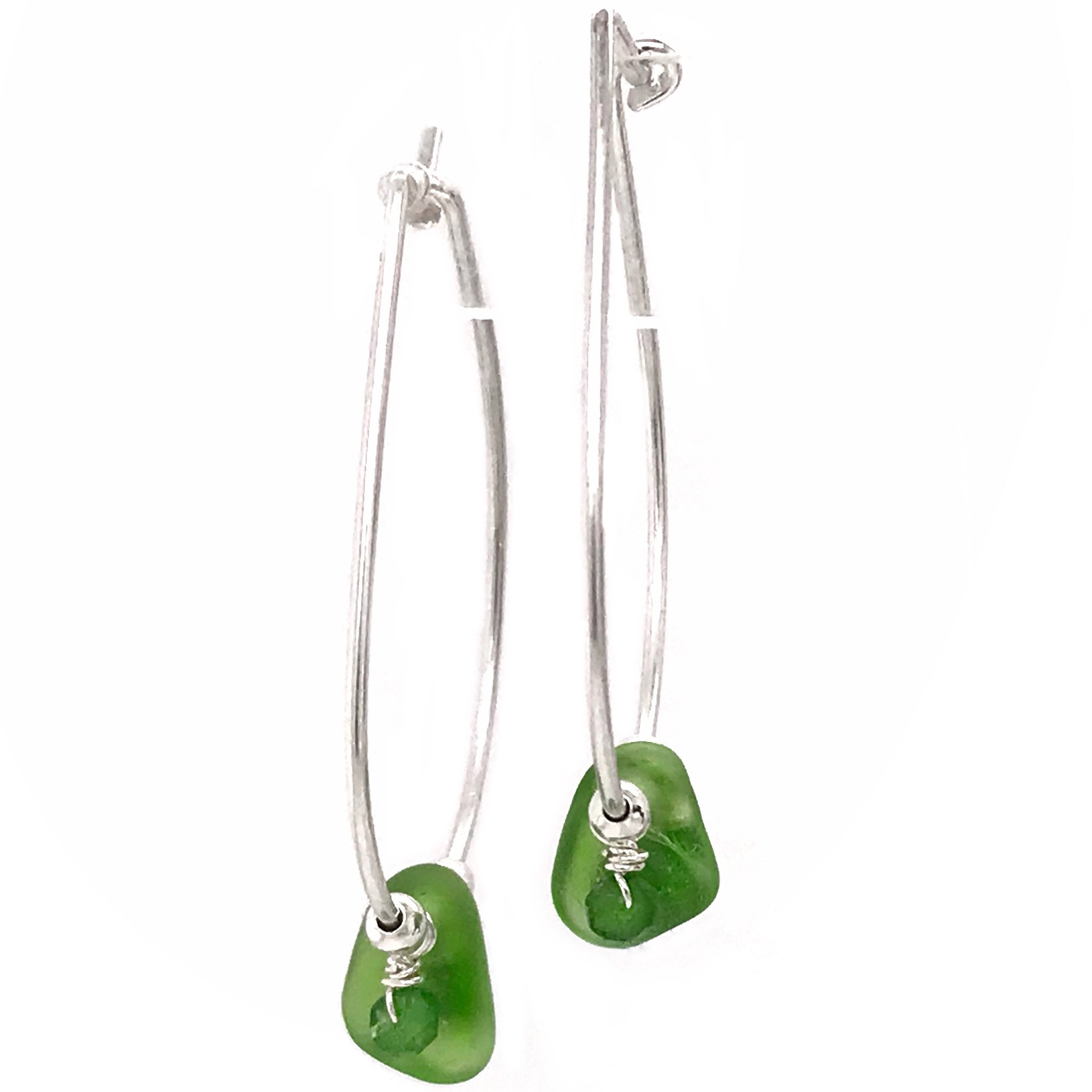 kriket broadhurst jewellery silver hoop earrings with green seaglass