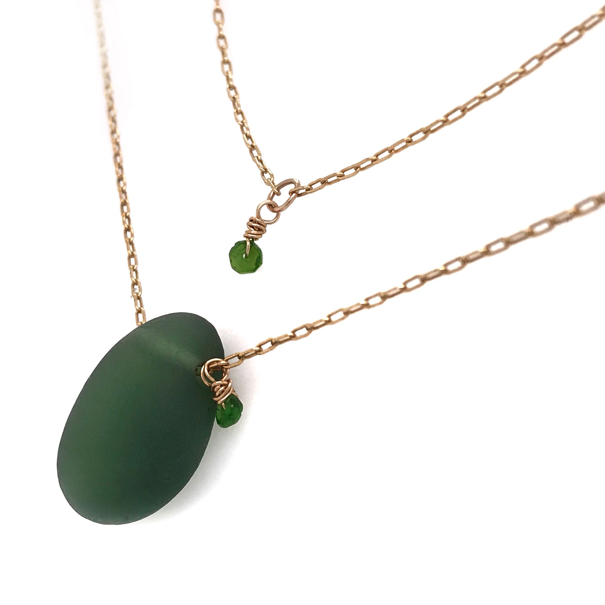 green seaglass long gold necklace with green stones