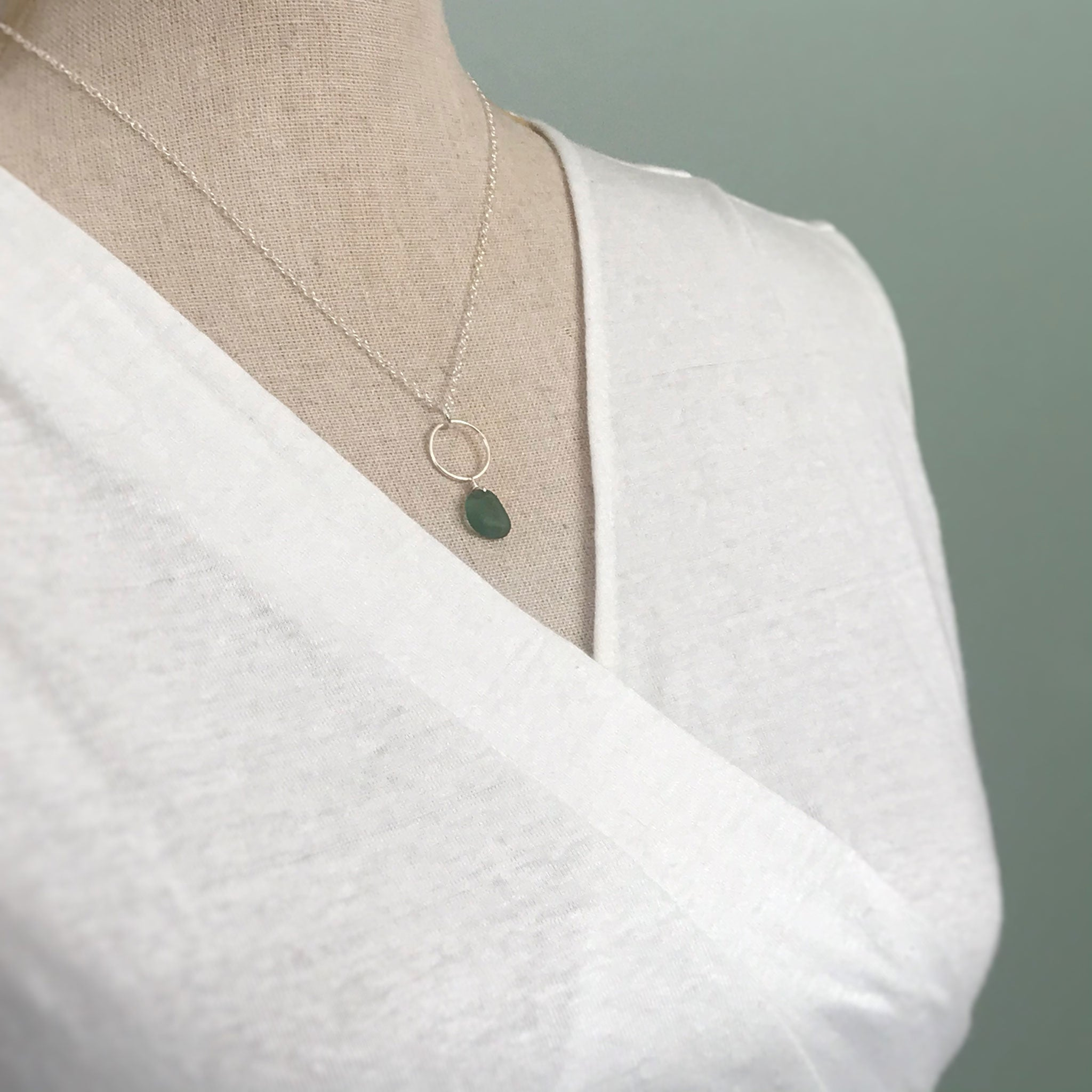 sterling silver circle design necklace with green seaglass kriket broadhurst jewellery