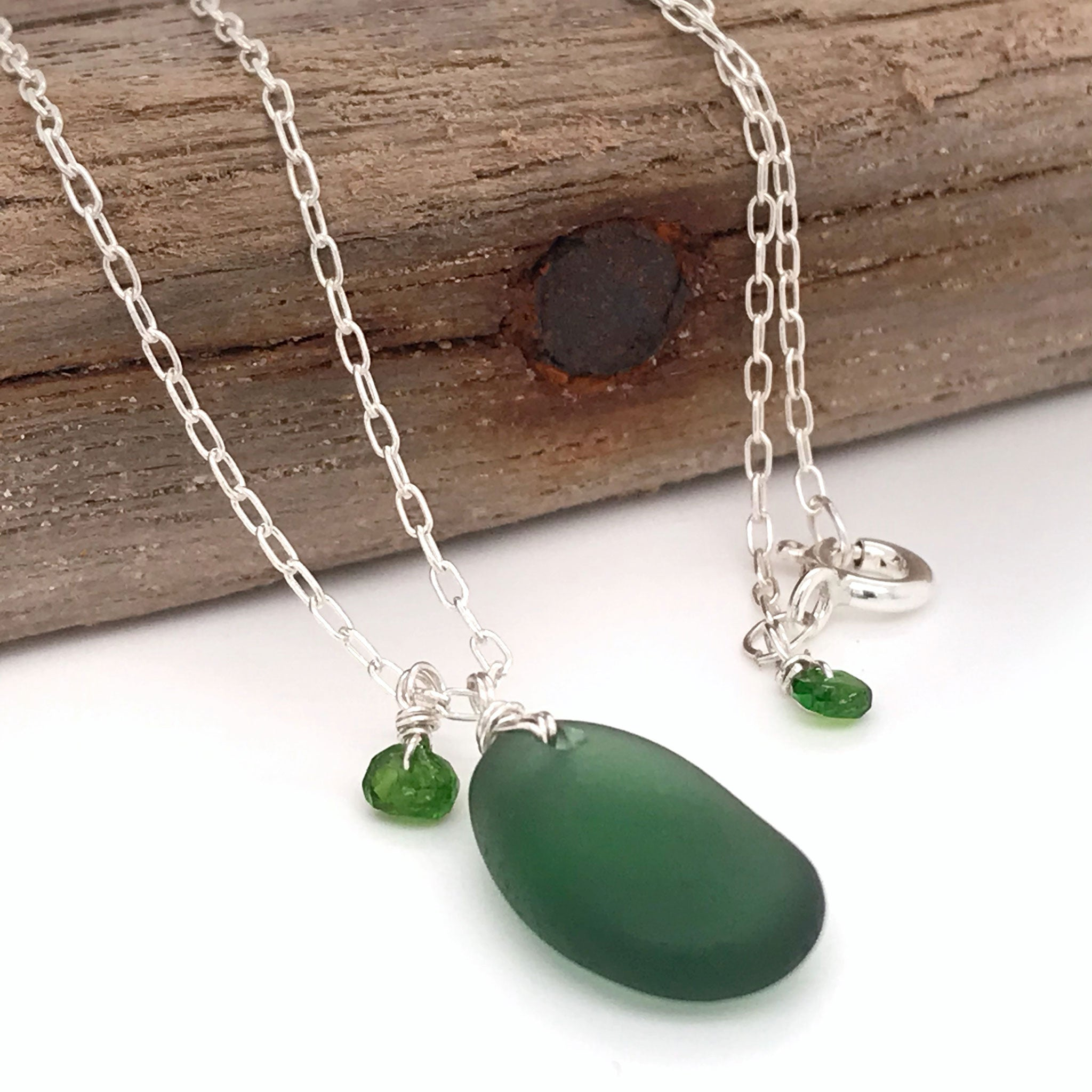 green seaglass necklace sterling silver with tsavorite stones kriket Broadhurst jewellery