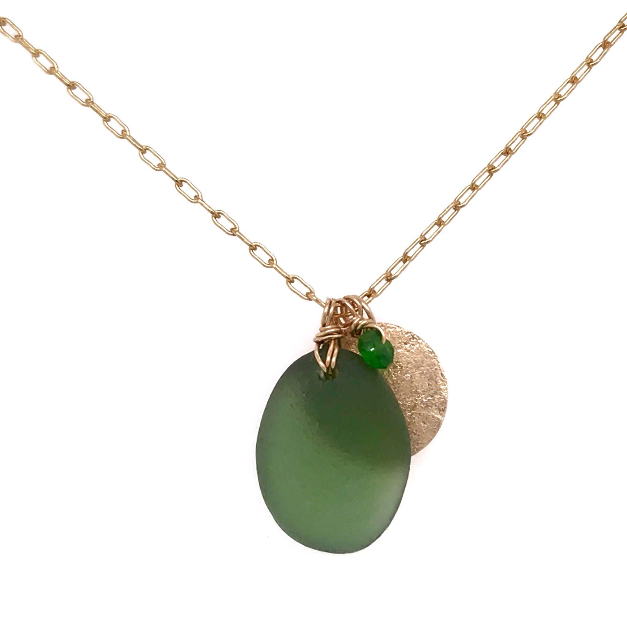 gold disc charm with green seaglass necklace kriket broadhurst jewellery