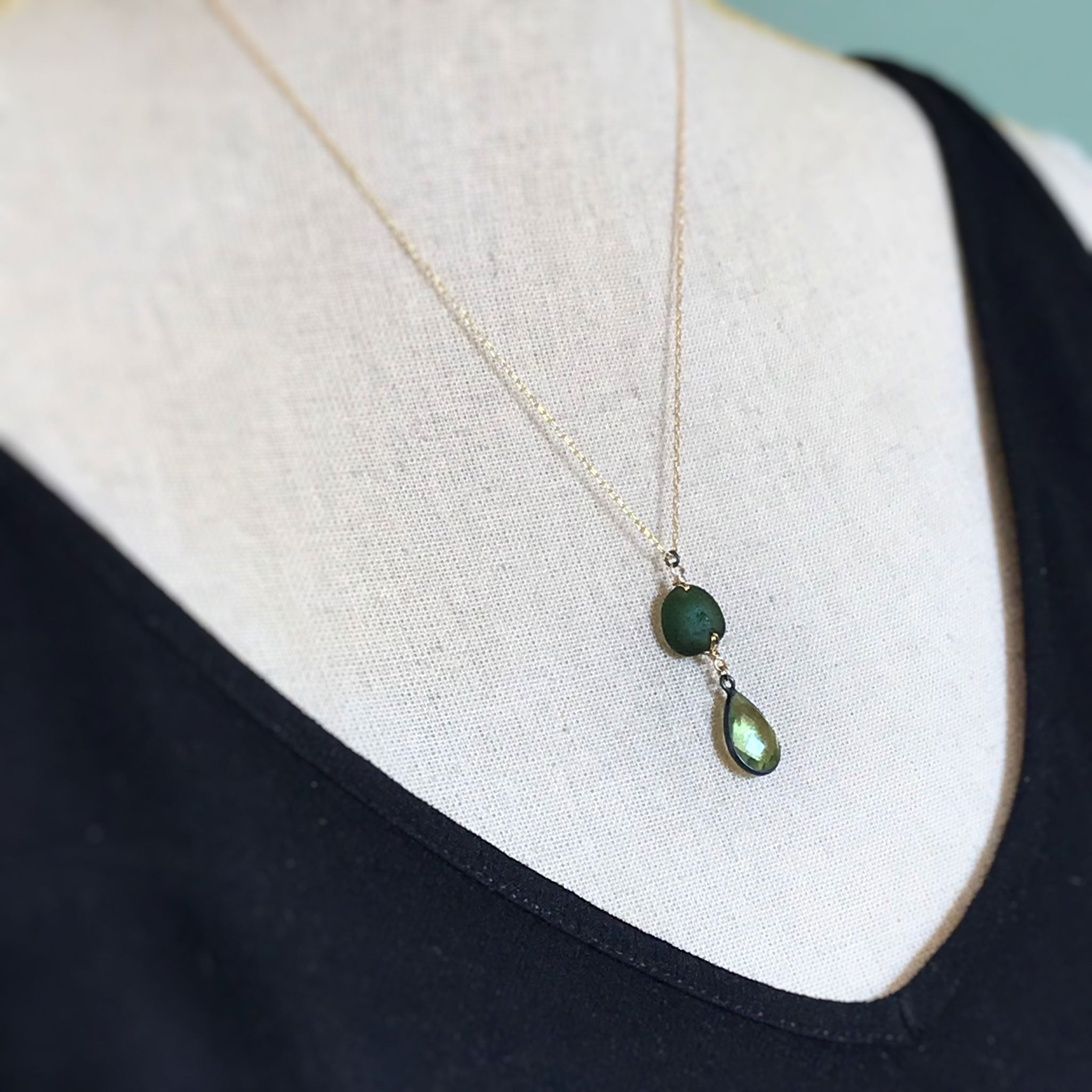 green jewellery seaglass necklace with quartz kriket Broadhurst jewellery
