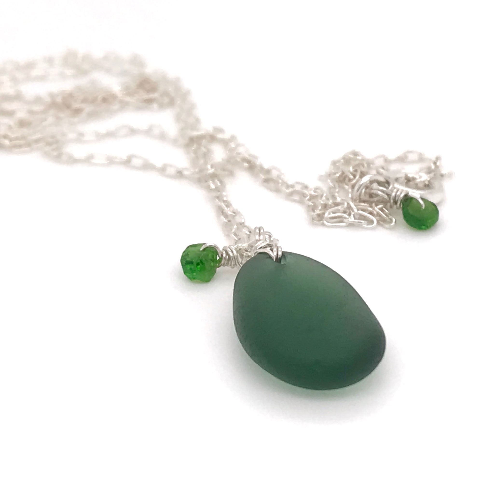 green seaglass necklace sterling silver with tsavorites  kriket Broadhurst jewellery