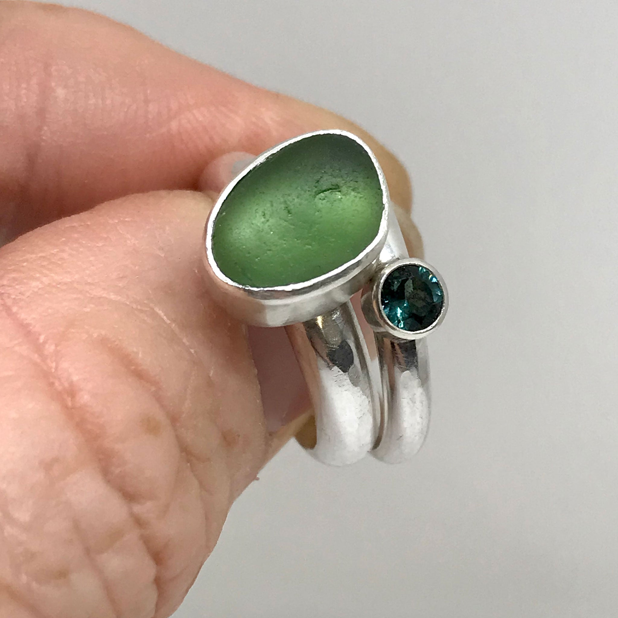 green seaglass set in sterling silver ring with blue green tourmaline ring kriket broadhurst jewellery