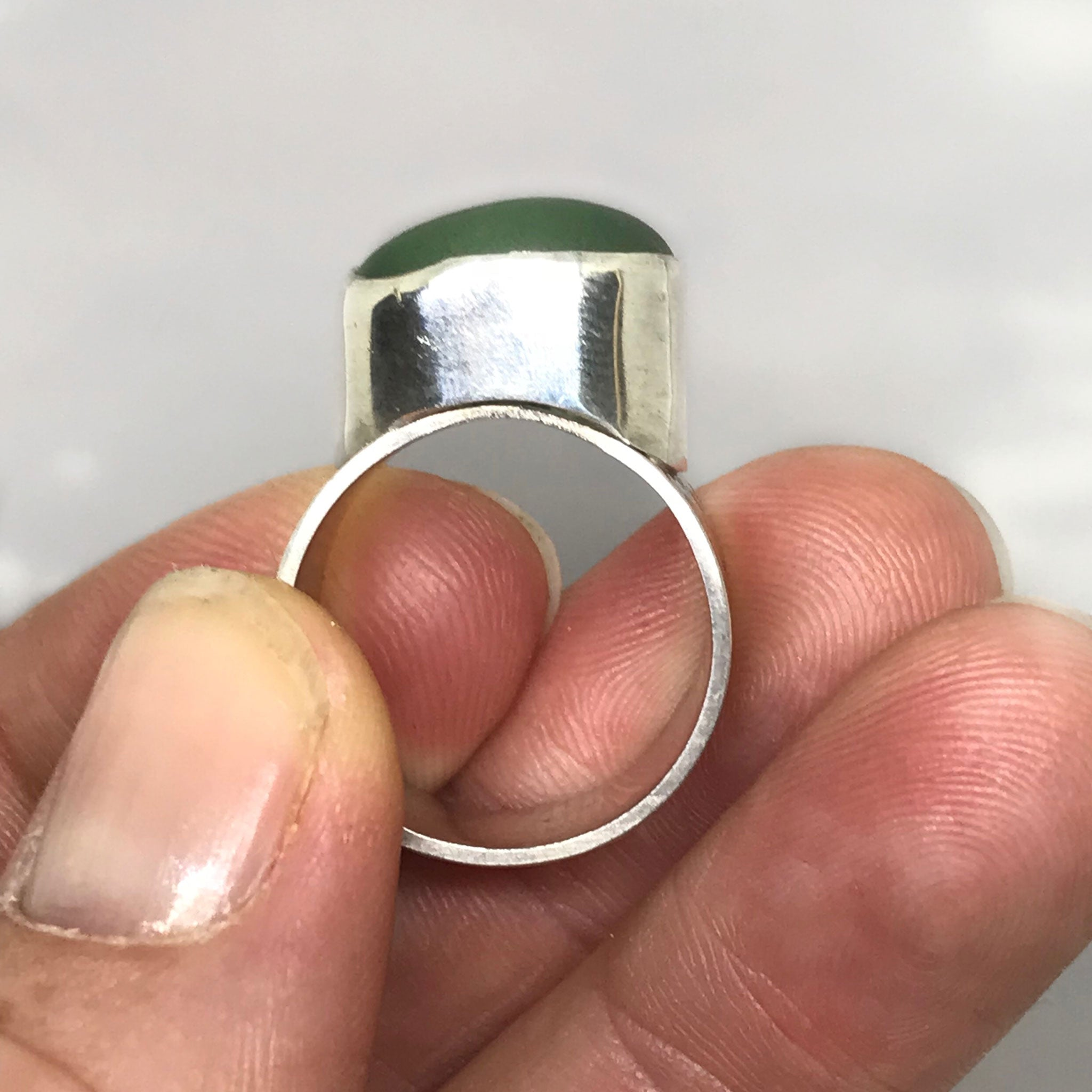 sterling silver ring with green beach glass kriket Broadhurst jewellery