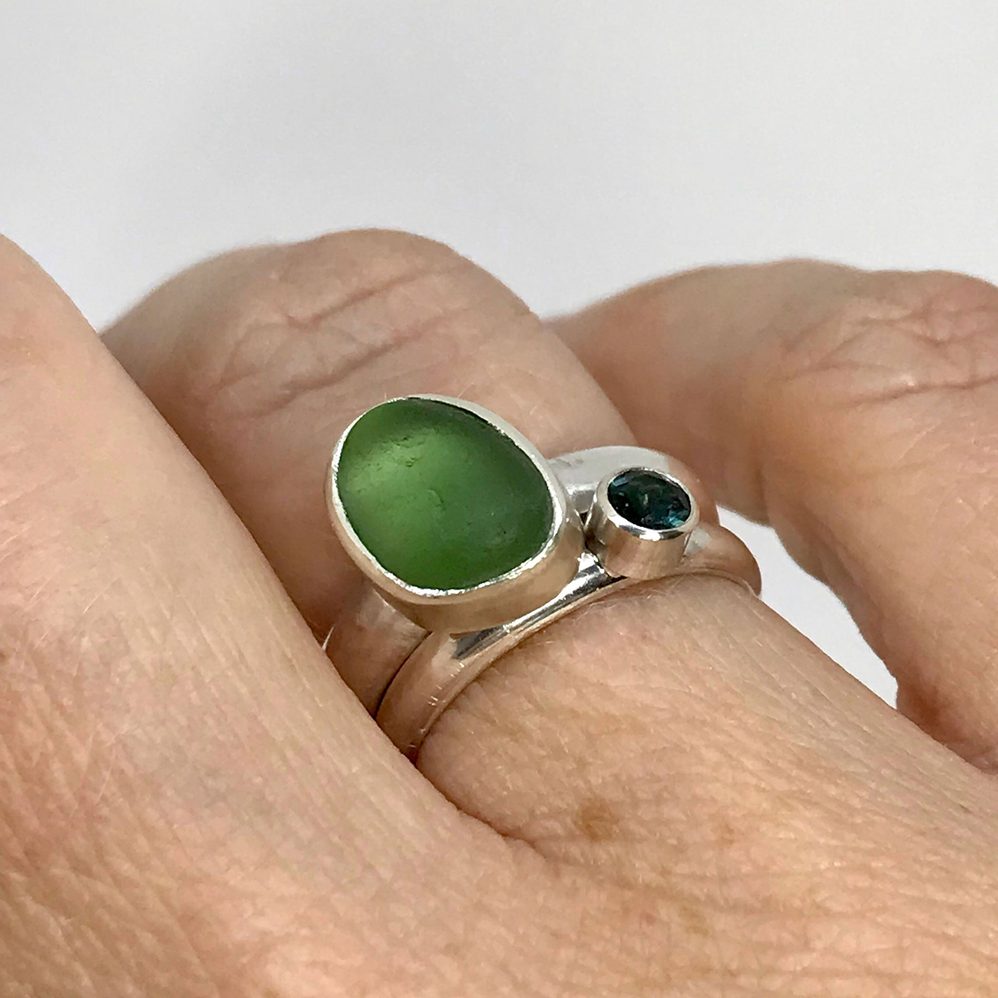 sterling silver rings with green seaglass and blue green tourmaline kriket broadhurst jewellery