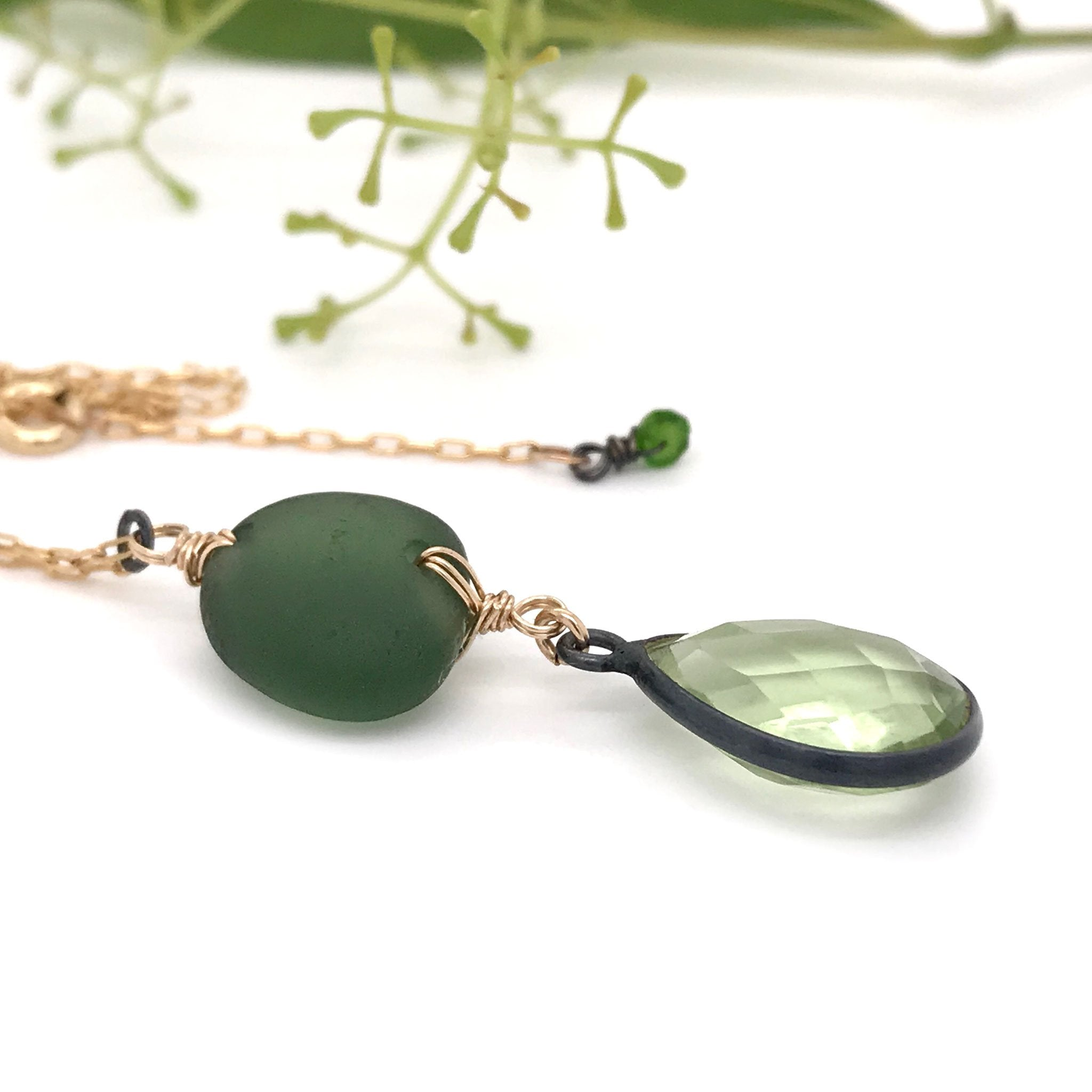 green seaglass necklace with green quartz kriket Broadhurst jewellery