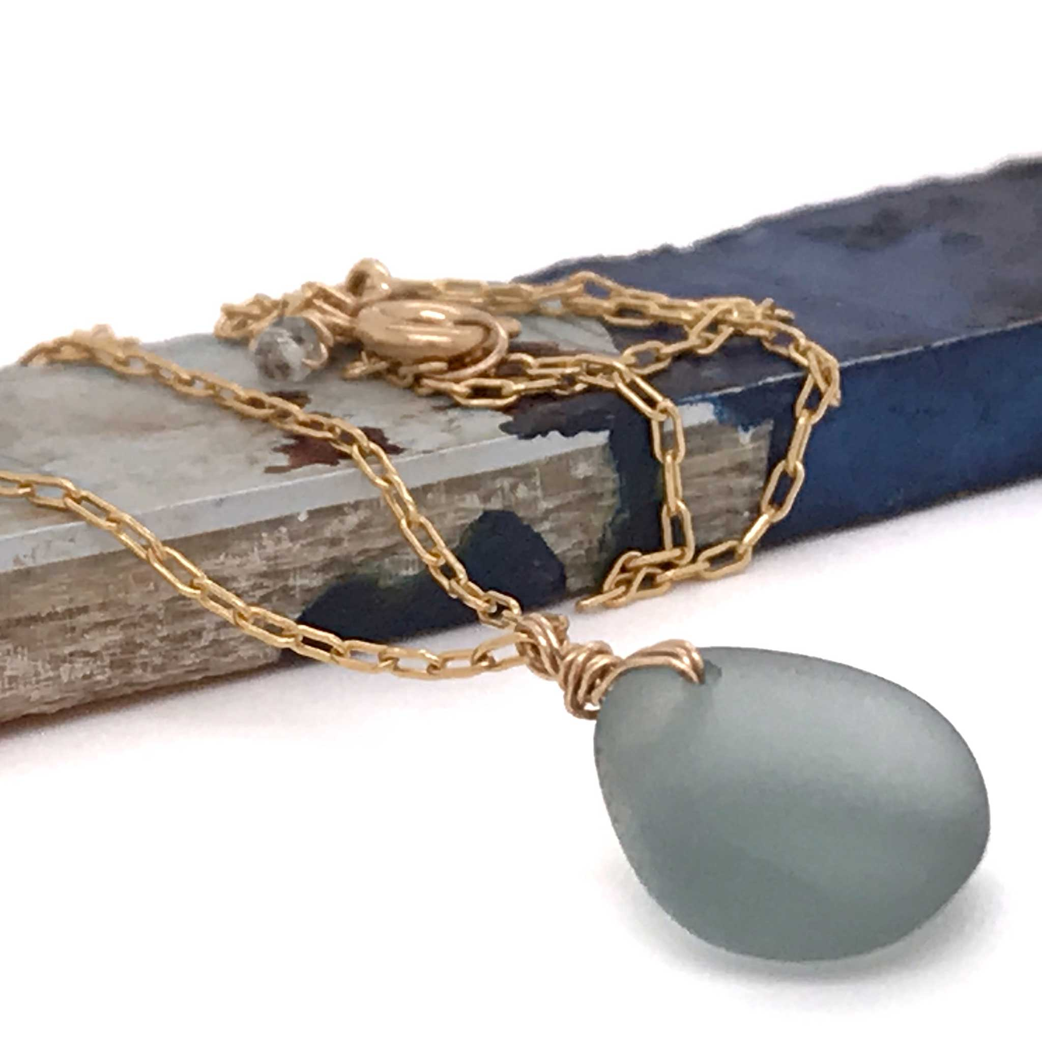 jewelry store near me grey seaglass necklace on gold chain kriket broadhurst