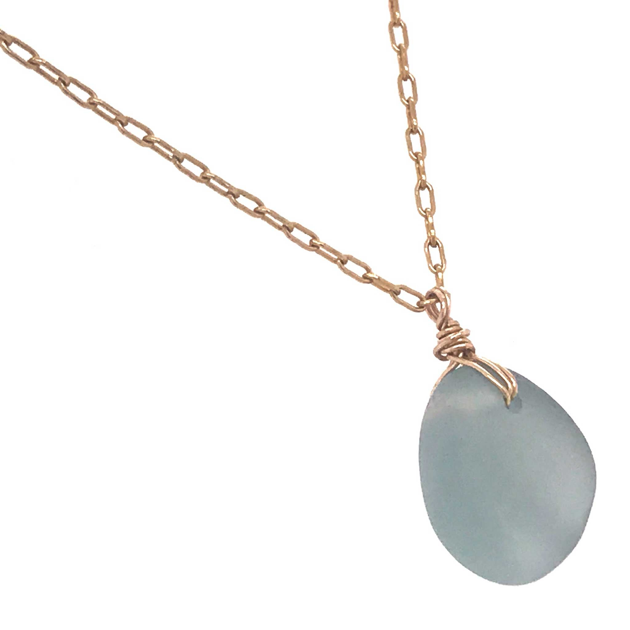 grey sea glass necklace on gold chain kriket broadhurst jewellery store near me