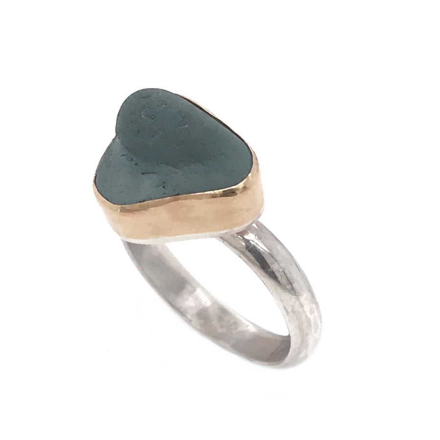 grey seaglass ring gold and silver kriket broadhurst jewelry Australia