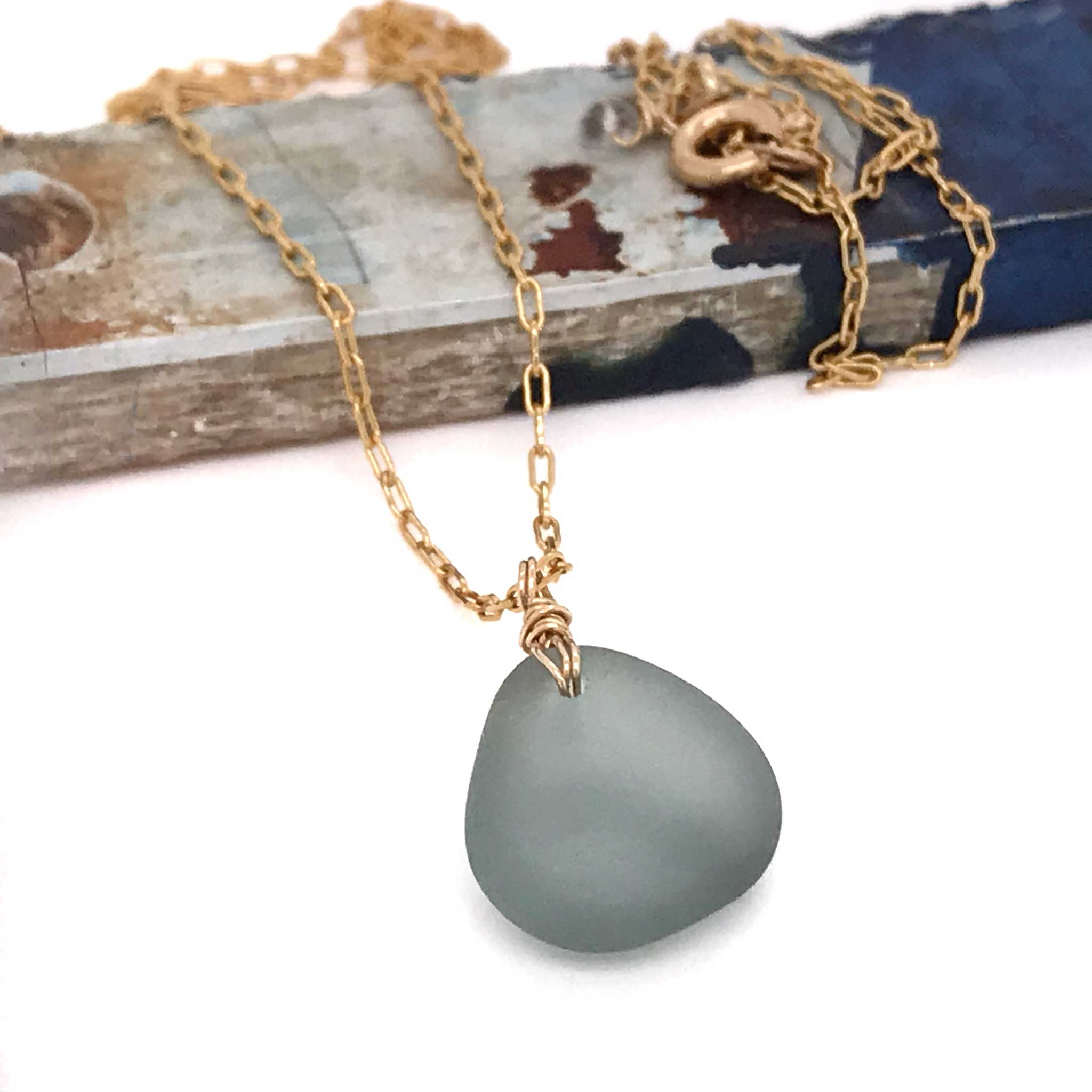 grey necklace beach glass on gold chain kriket broadhurst unique gifts for women Sydney