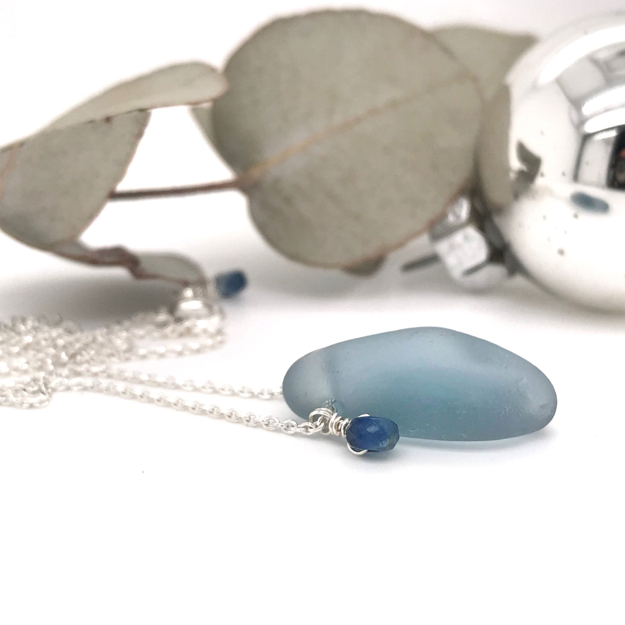 French grey seaglass necklace