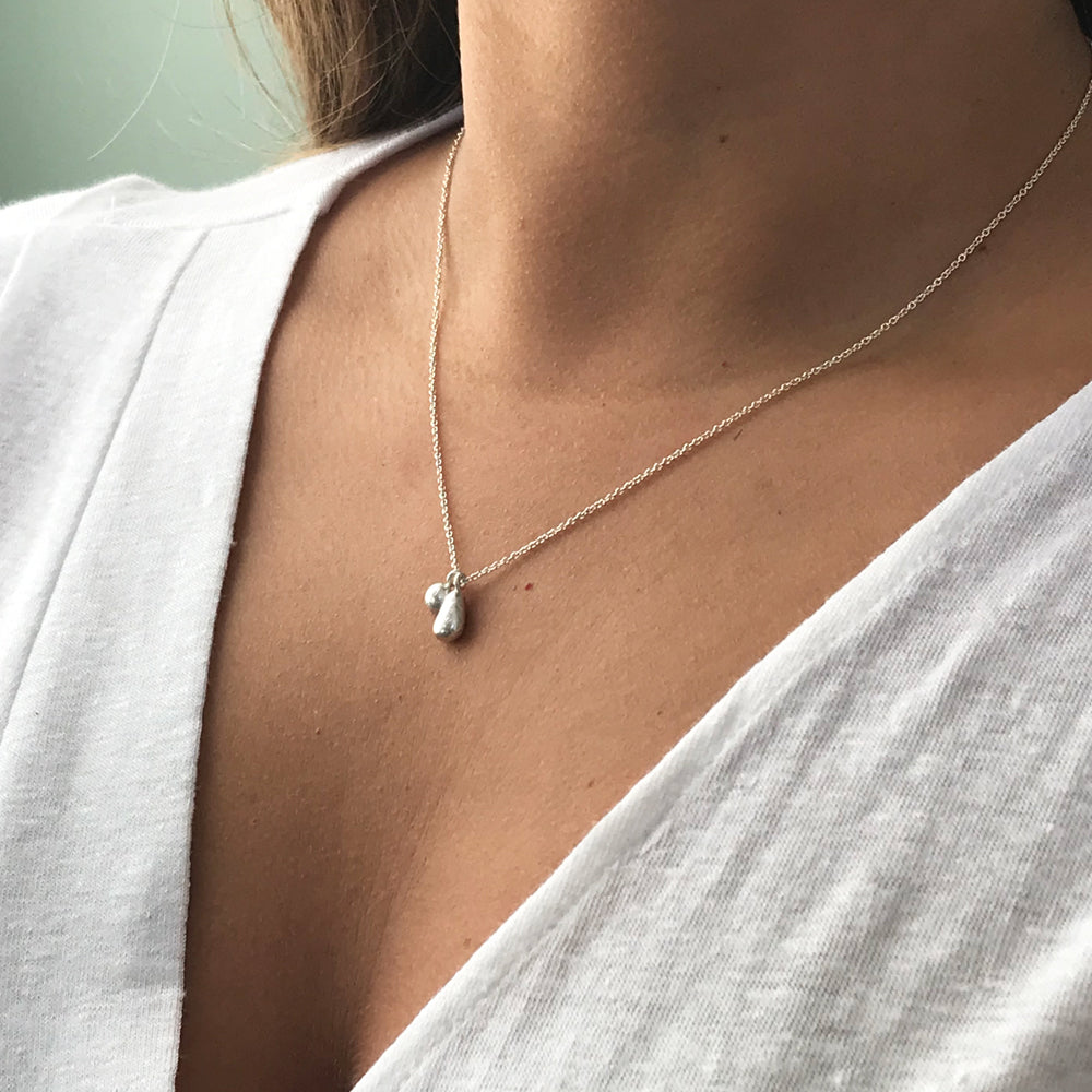 Silver Necklace with Seaglass Nugget Charm  - kriket broadhurst jewellery made in Sydney