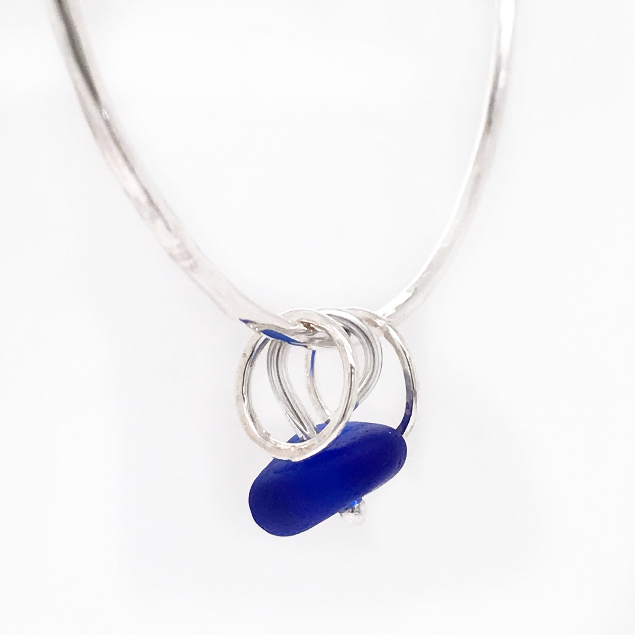 Rare colour Cobalt Blue Seaglass Bangle - Sterling Silver – kriket-broadhurst jewellery