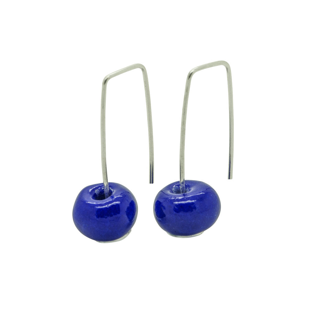 Short Sterling Silver Earrings with Dark Blue Ceramic Bead - kriket-broadhurst jewelry