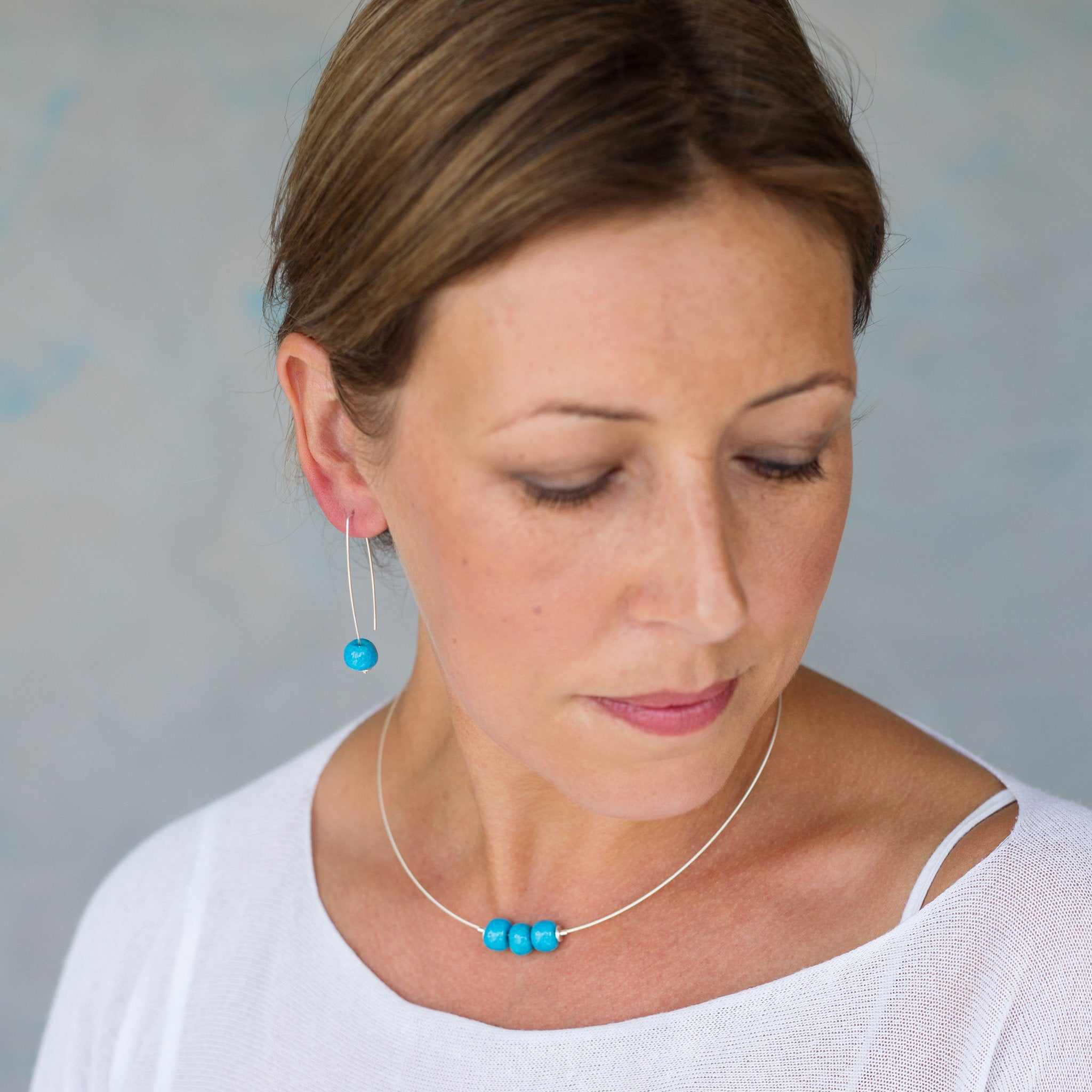 Sterling Silver Necklace with Three Turquoise Ceramic Beads - kriket-broadhurst jewellery Australian made