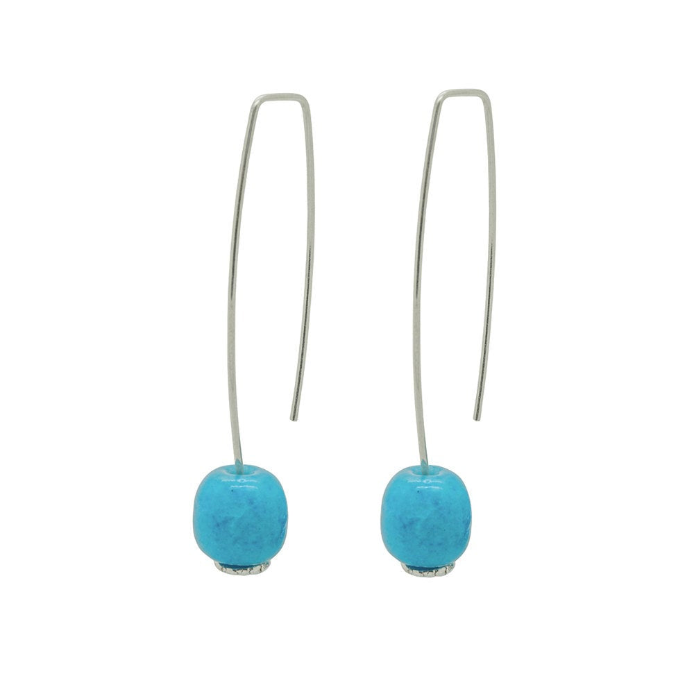 Long Silver Earrings Long with Turquoise Ceramic Barrel Bead - kriket-broadhurst jewellery