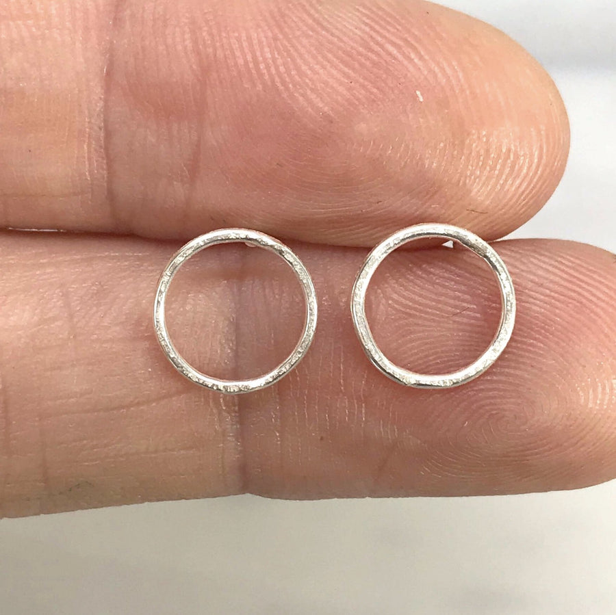 Sterling Silver Matte Hammered Circle Stud Earrings