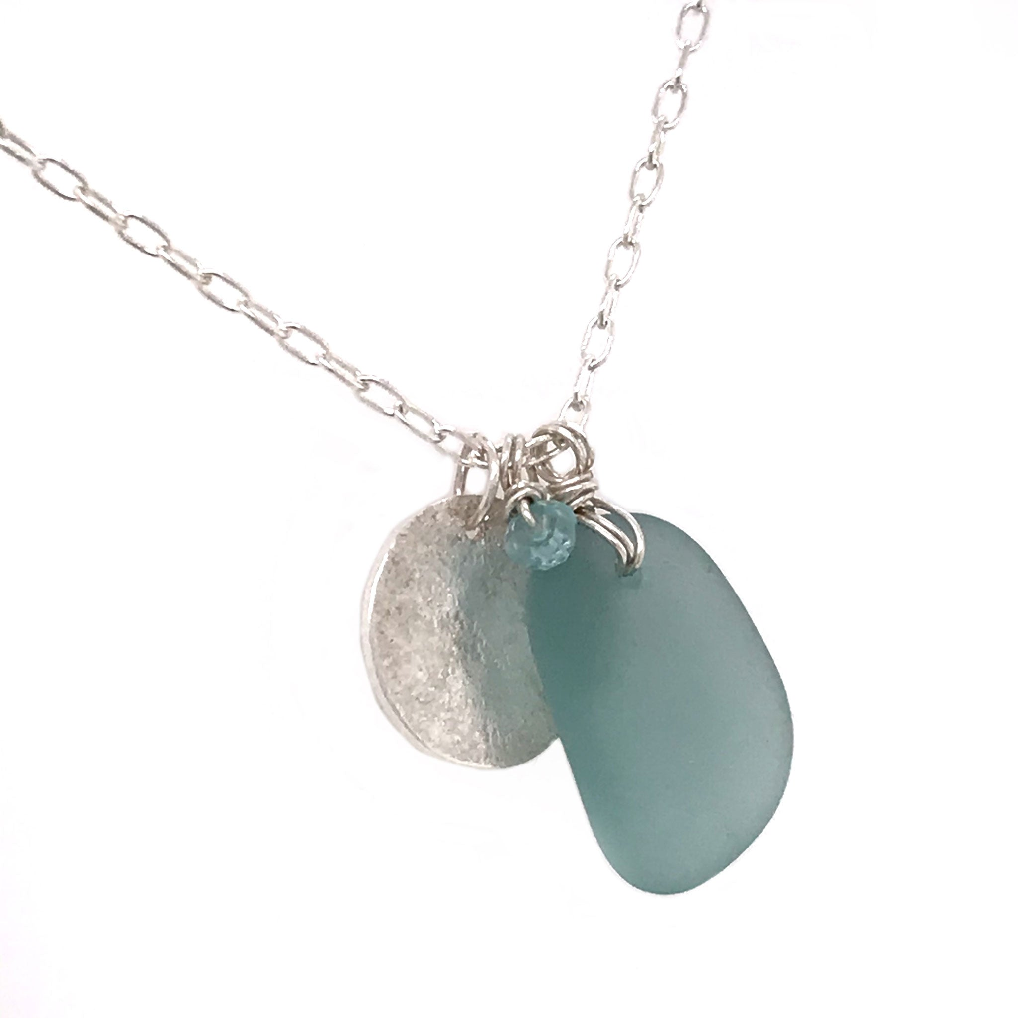 aqua blue seaglass necklace with sterling silver hammered disc charm kriket Broadhurst jewellery