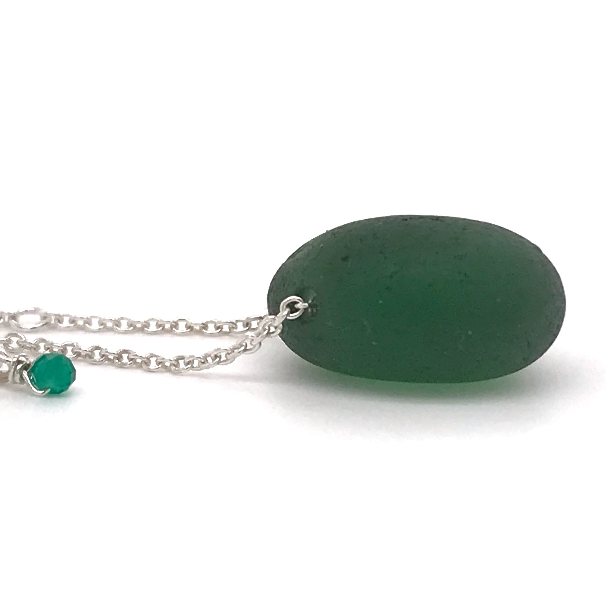 Green Seaglass Silver Necklace - Side Drilled
