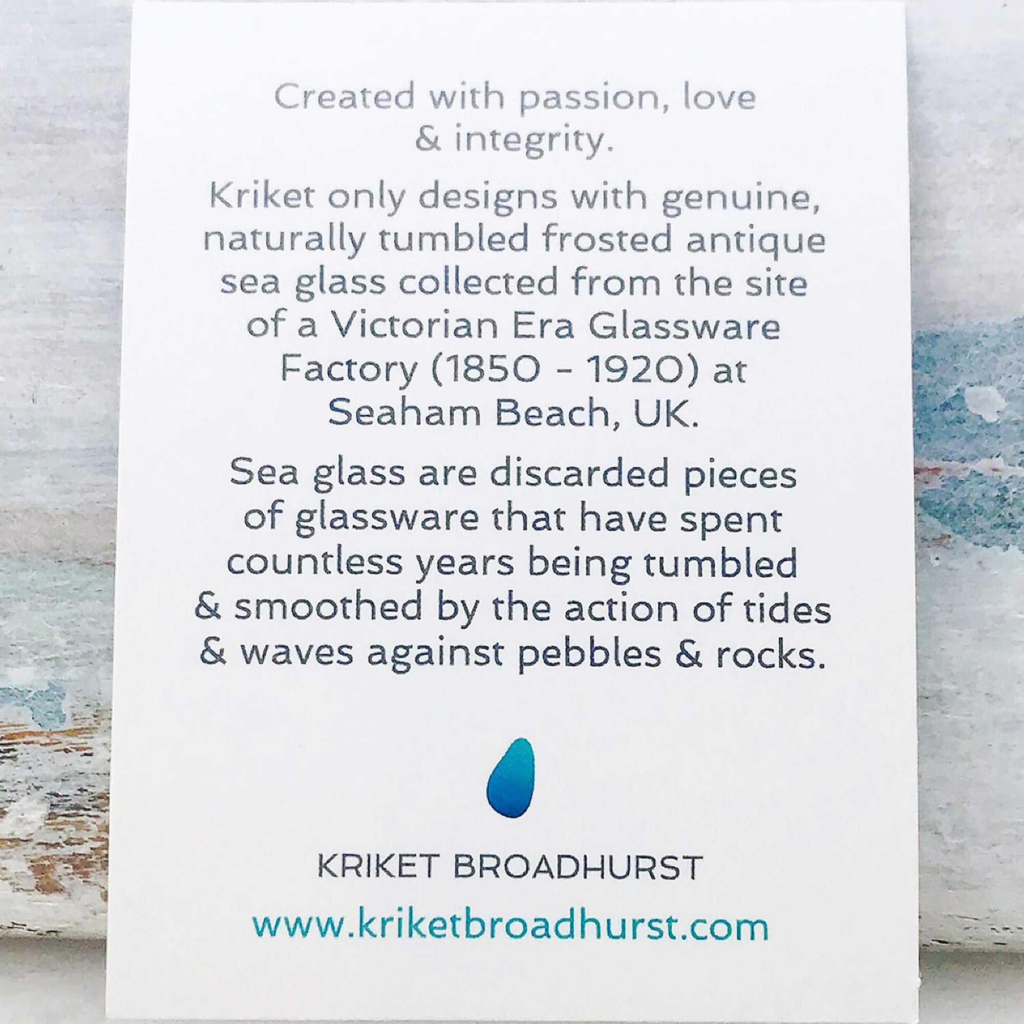 Kriket Broadhurst seaglass information card
