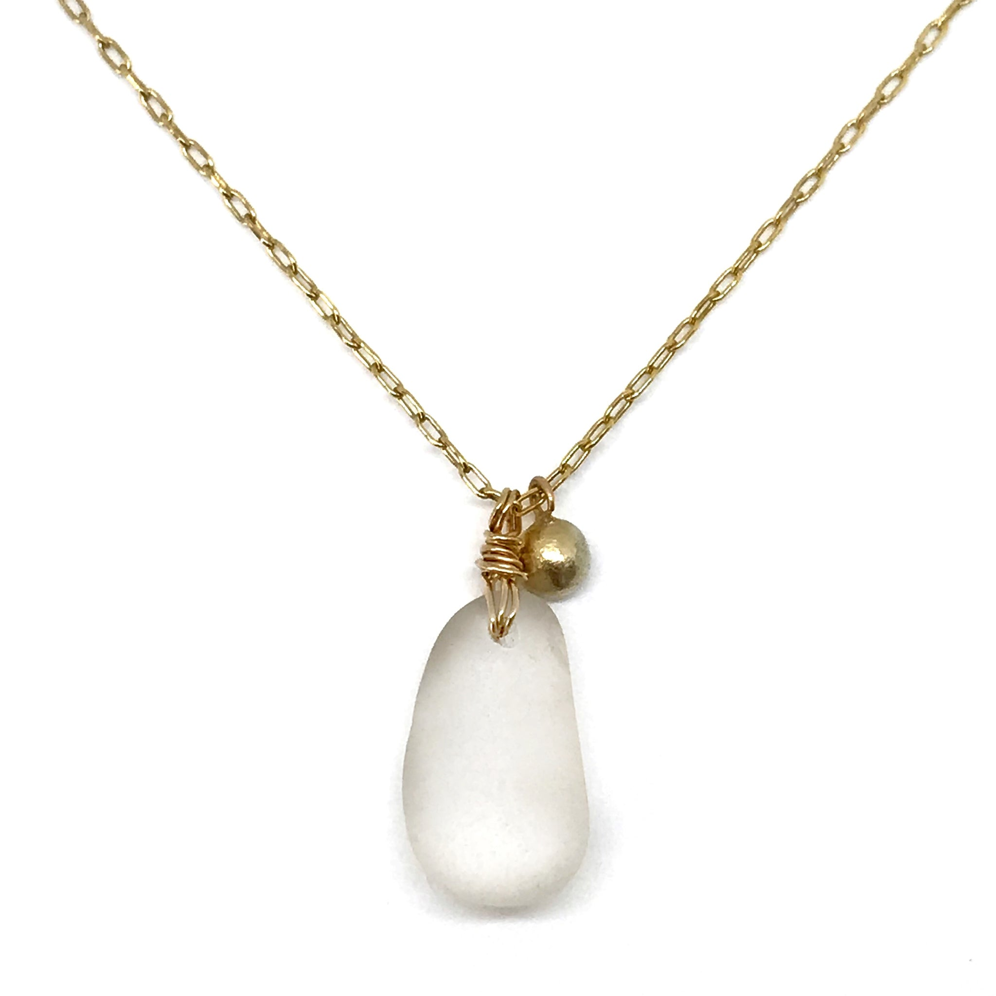 Clear Seaglass Necklace on Long Gold chain with gold charm  - kriket-broadhurst seaglass jewelry
