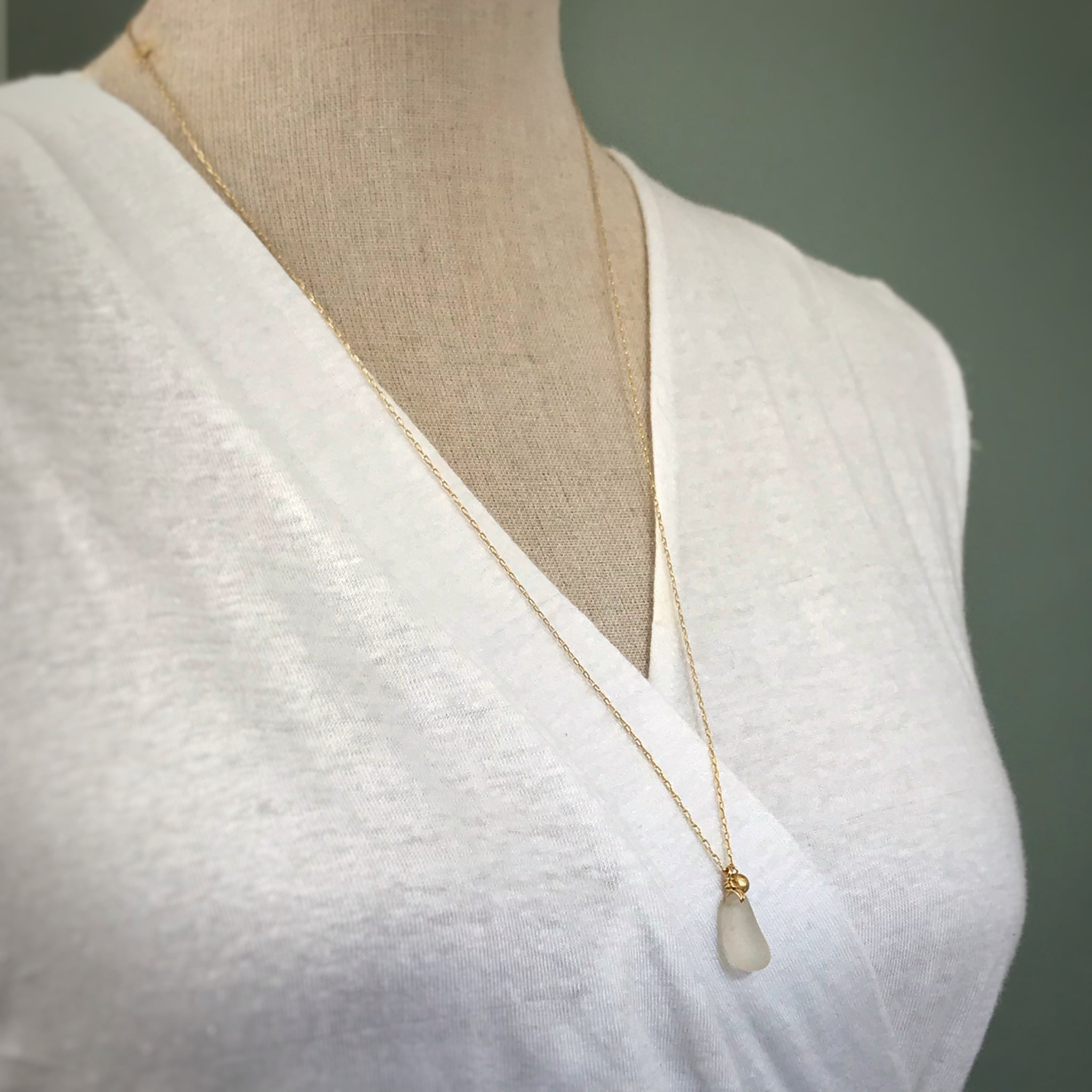Clear Seaglass Necklace on Long Gold chain with gold charm  - kriket broadhurst seaglass jewellery unusual gift