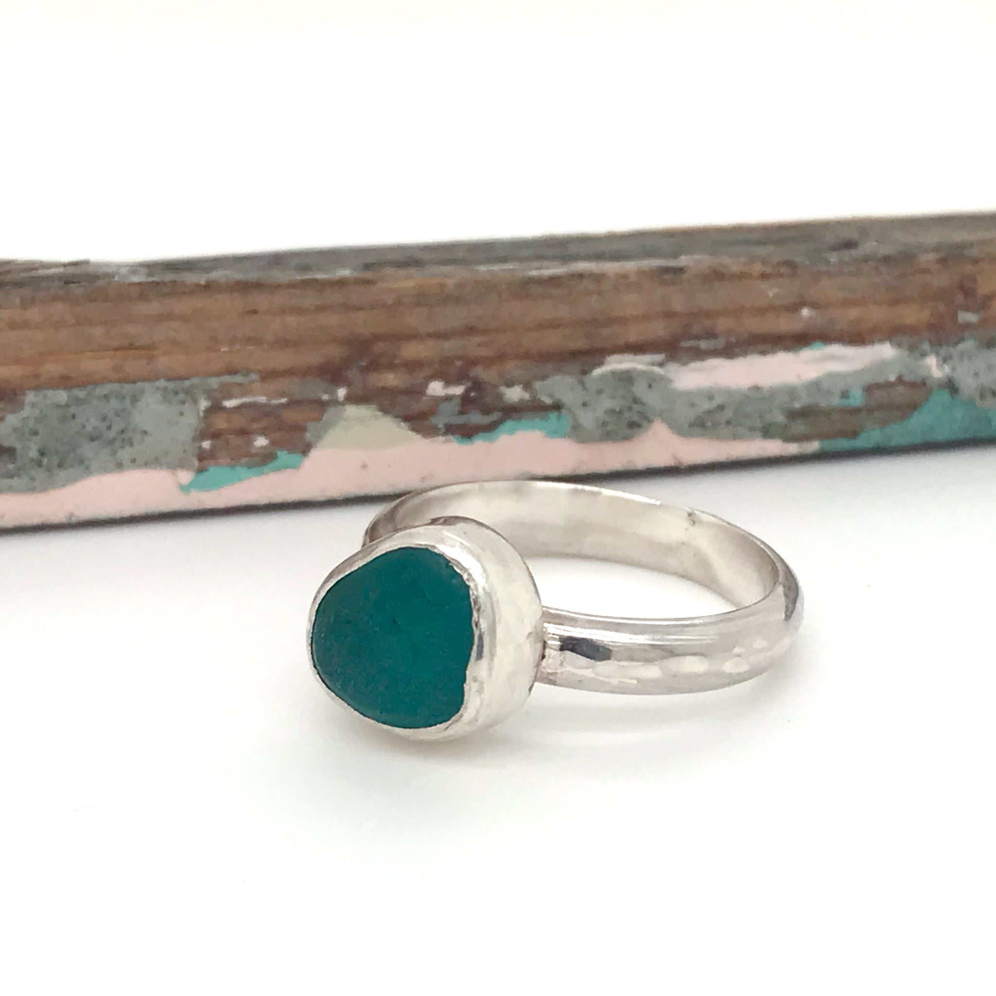 seaglass pinky ring