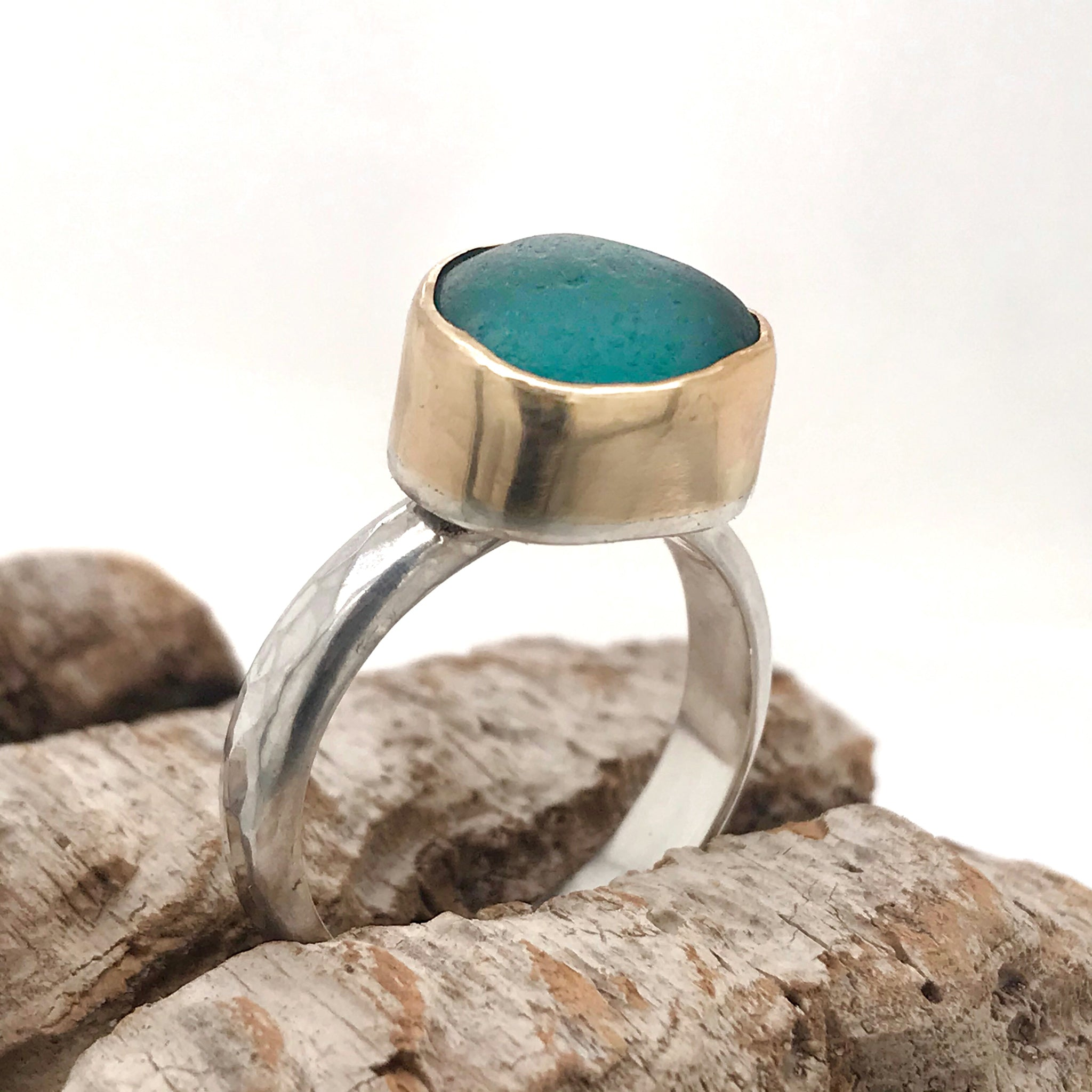 Teal Seaglass Ring – Sterling Silver with Gold Bezel – Made to Order