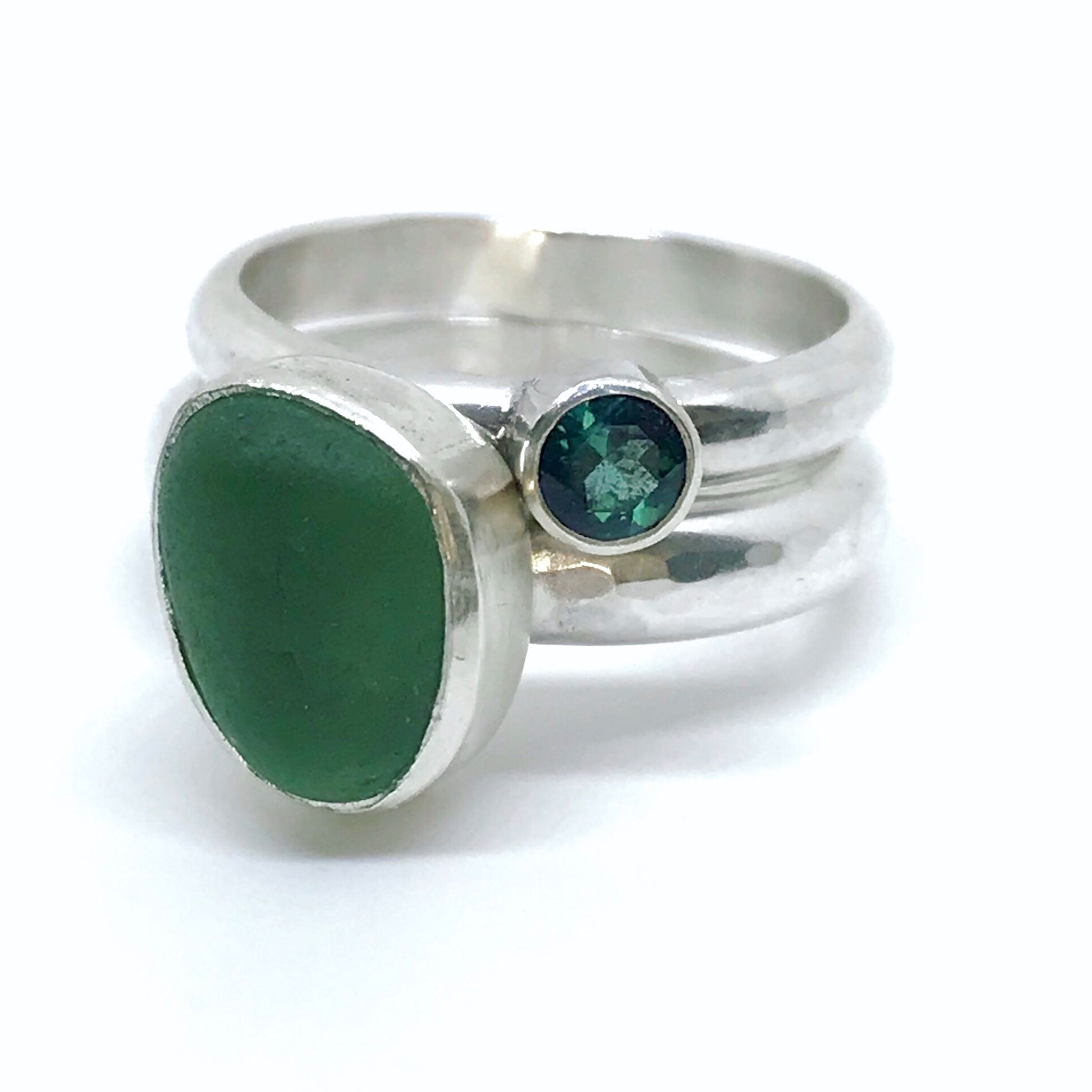 green seaglass ring stacked with blue green  tourmaline  ring kriket broadhurst jewellery