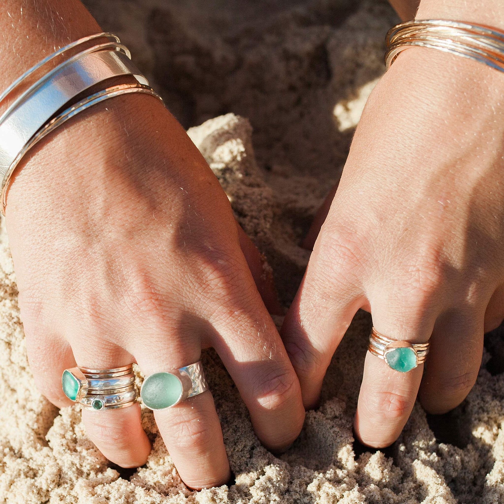sea glass rings stacking rings beach wedding
