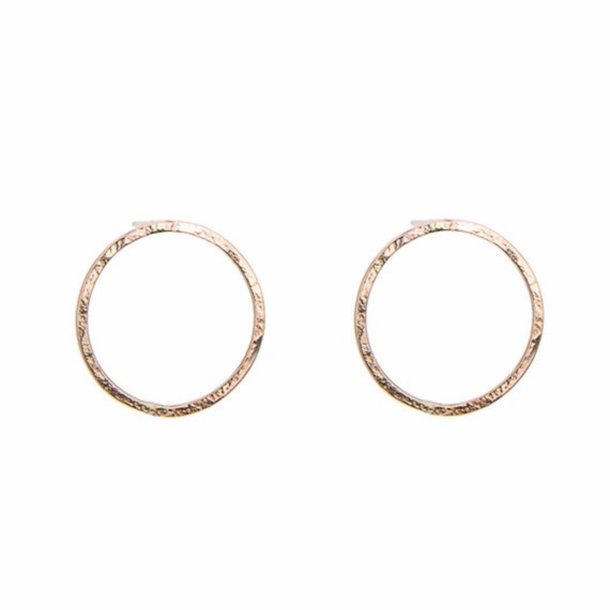 Gold Large Open Circle Earrings – Matte Hammered Circle Studs