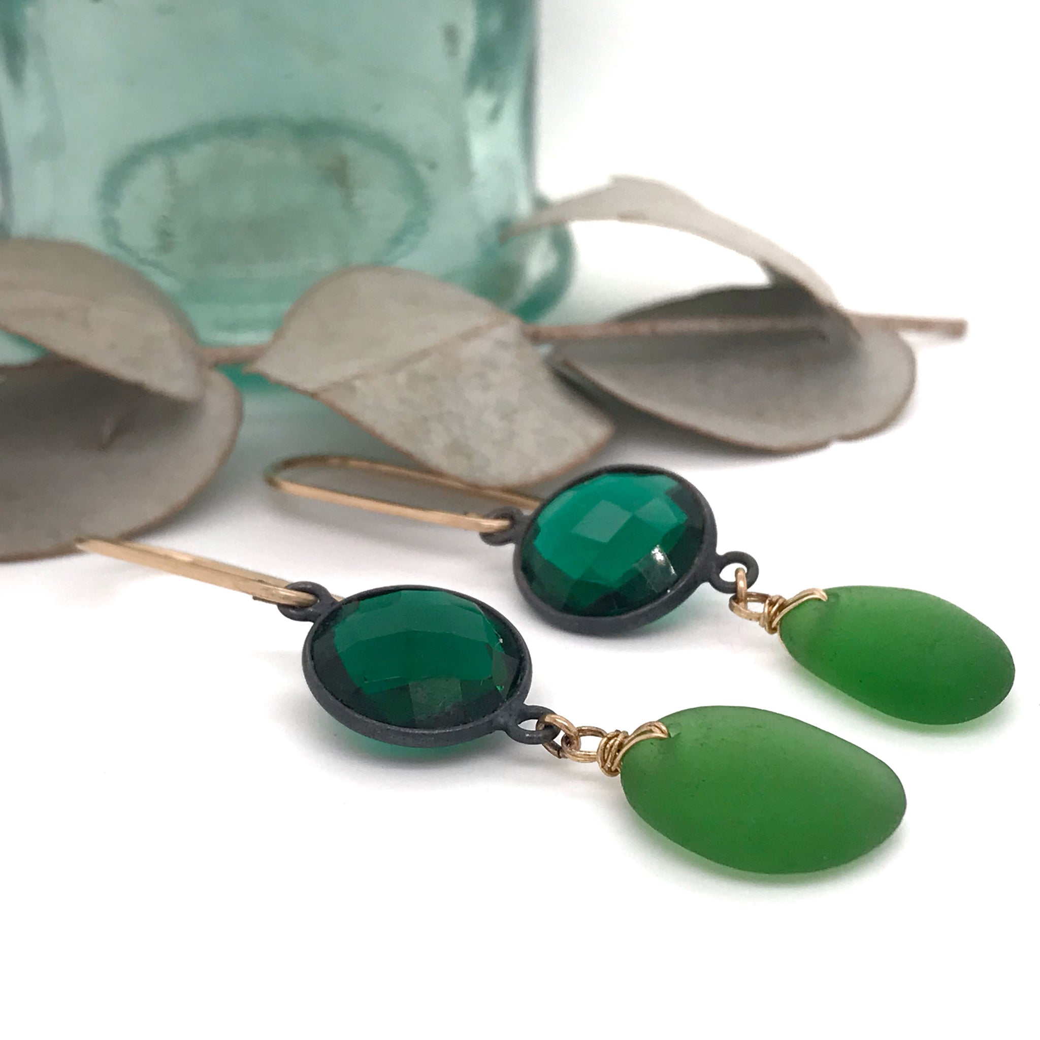 lime green sea glass with green quartz dangly earrings Christmas gift for women kriket broadhurst jewellery Sydney