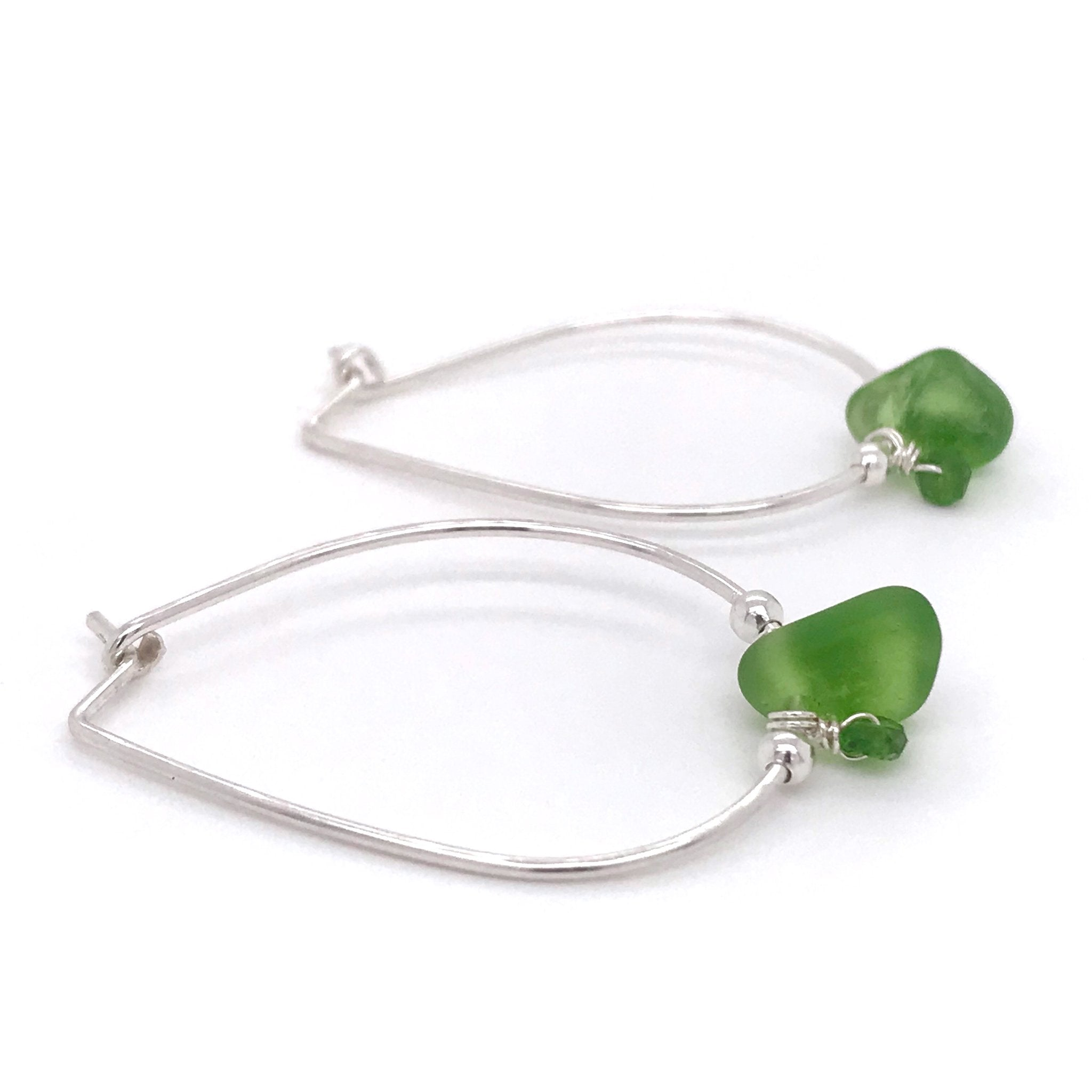 lime green sea glass and tsavorite stones on silver hoop earrings by kriket broadhurst jewellery