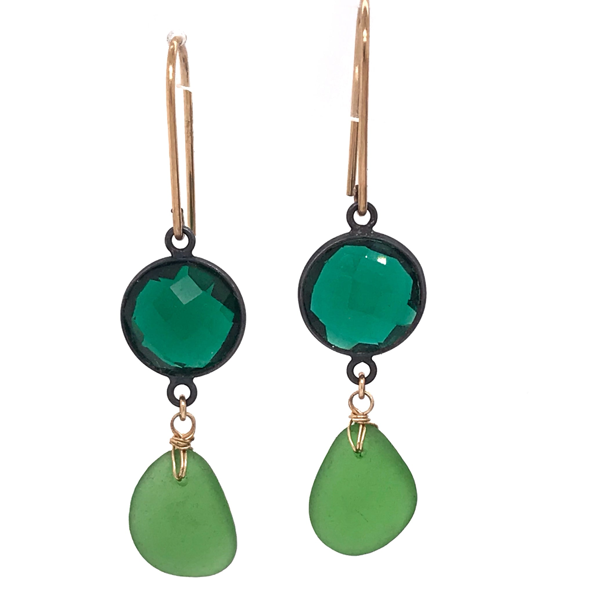 bright colourful earrings green seaglass and quartz kriket broadhurst jewellery Sydney store