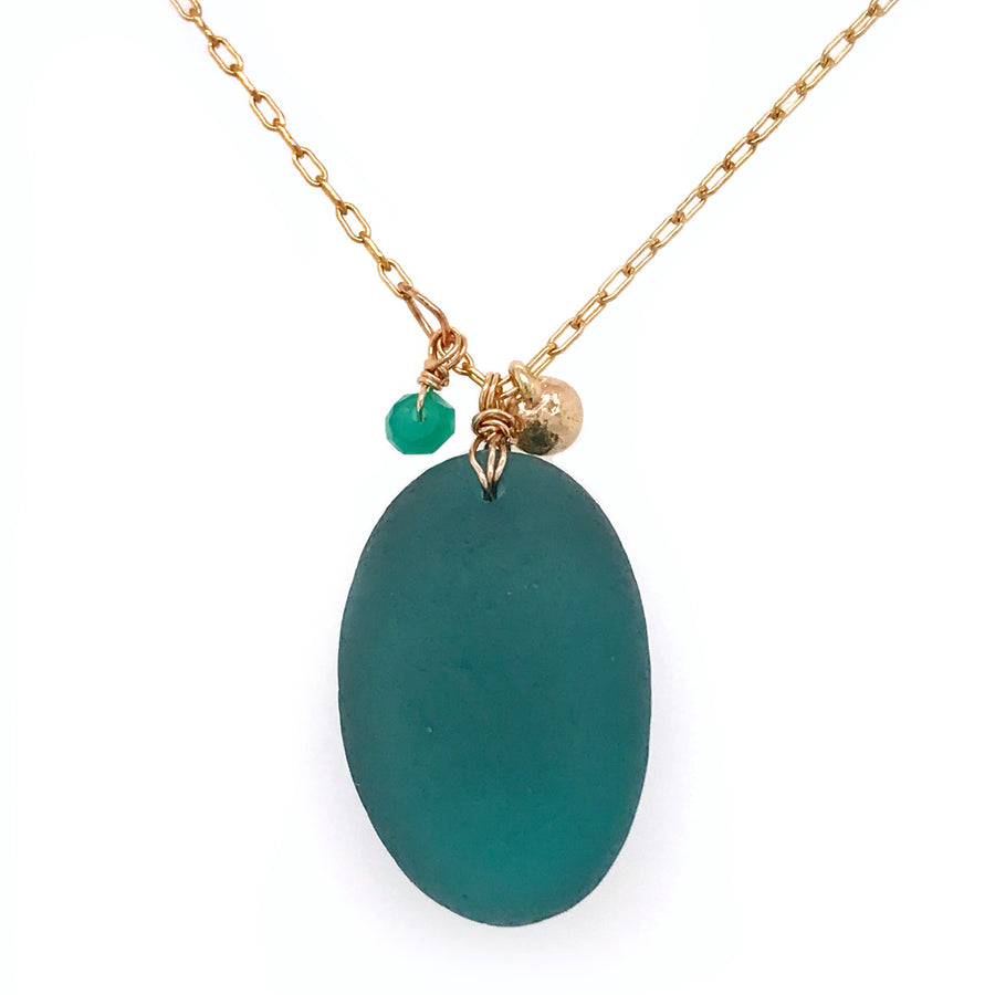 long teal green gold necklace