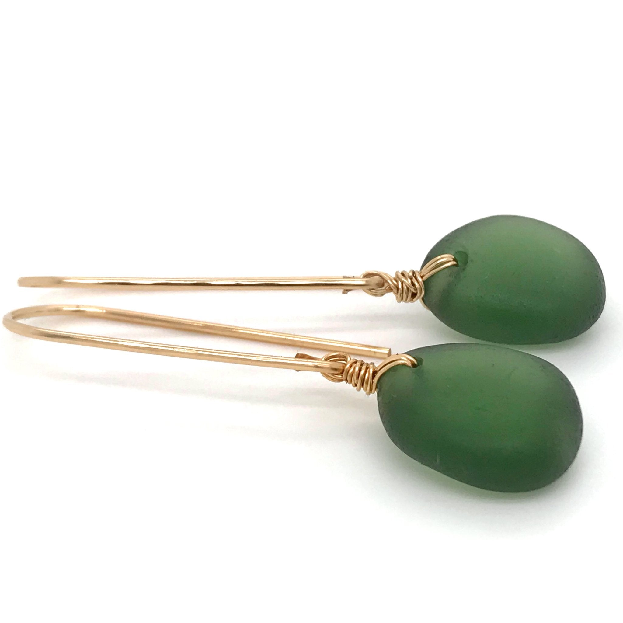 green seaglass earrings on gold drops kriket broadhurst jewellery