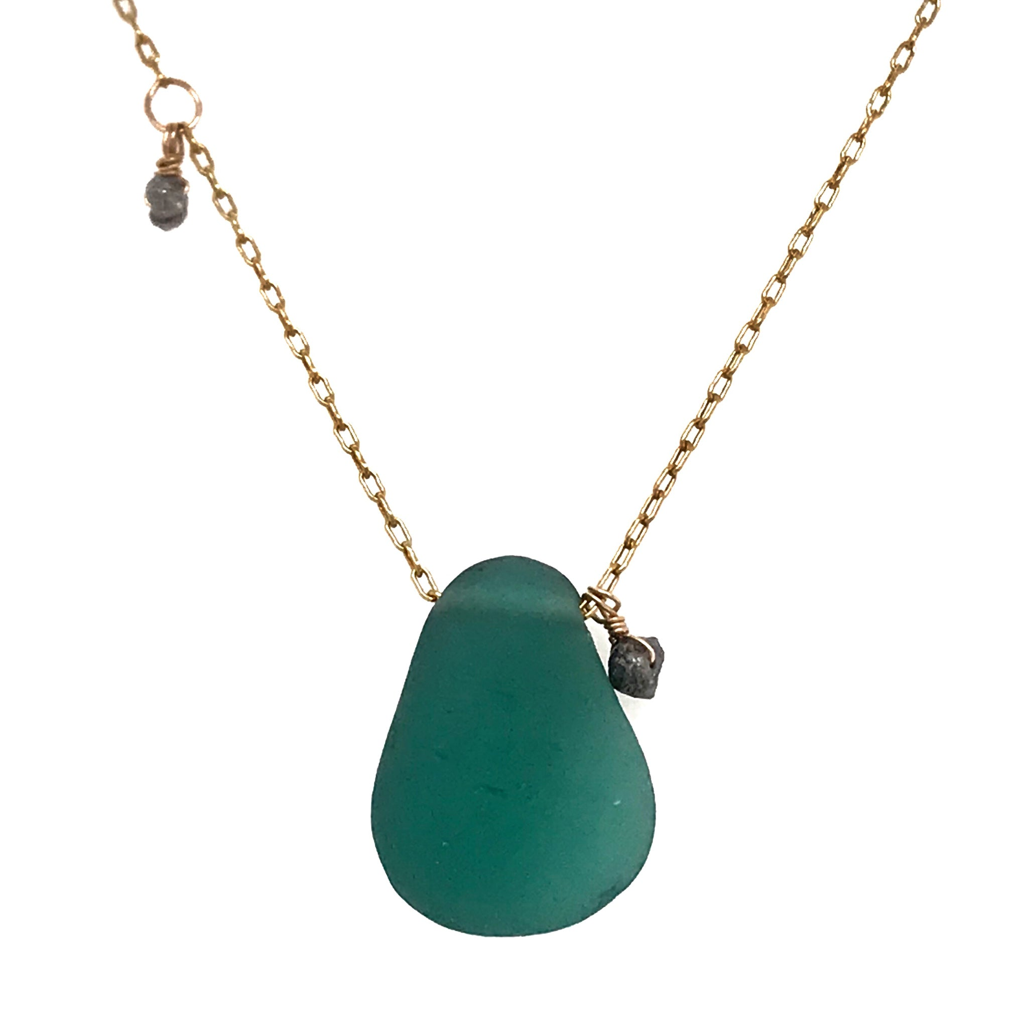 emerald green necklace sea glass on gold chain with rough cut diamonds Kriket Broadhurst jewelry Sydney