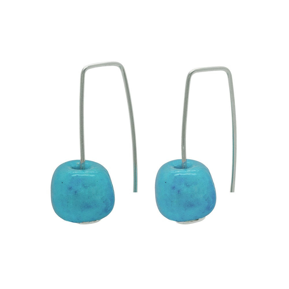 Short Silver Earrings with Turquoise Ceramic Bead - kriket-broadhurst jewelry