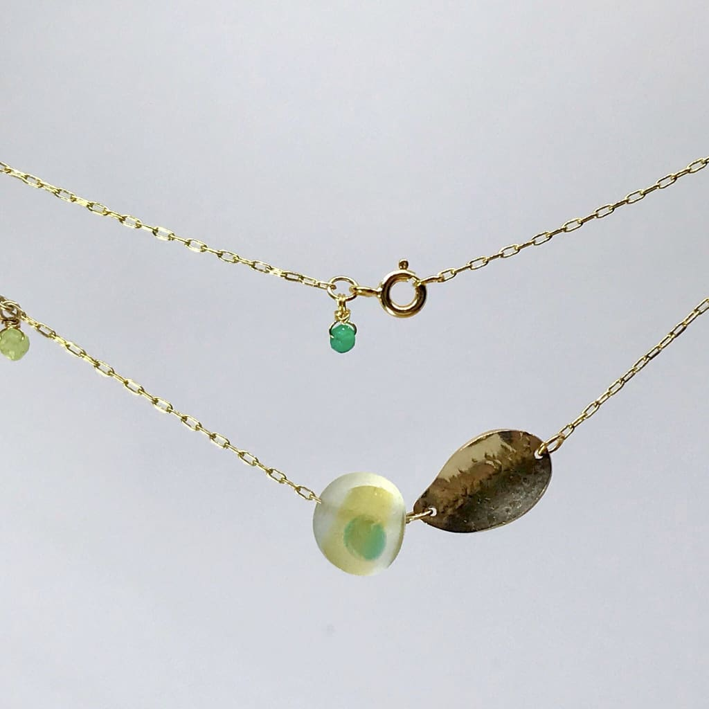 Gold and yellow beach glass Necklace on Gold chain - kriket broadhurst jewellery Sydney