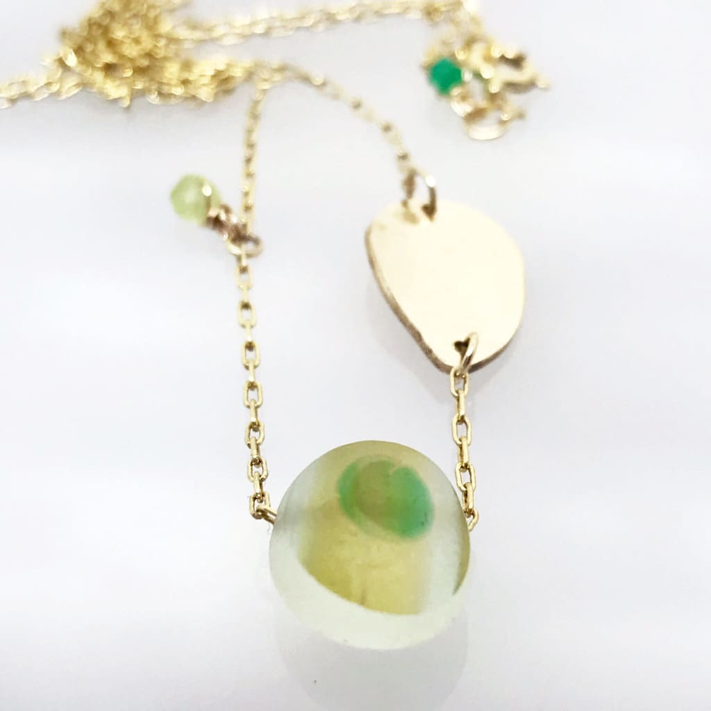 Multi-coloured Seaglass Necklace on Gold chain - kriket broadhurst jewelry