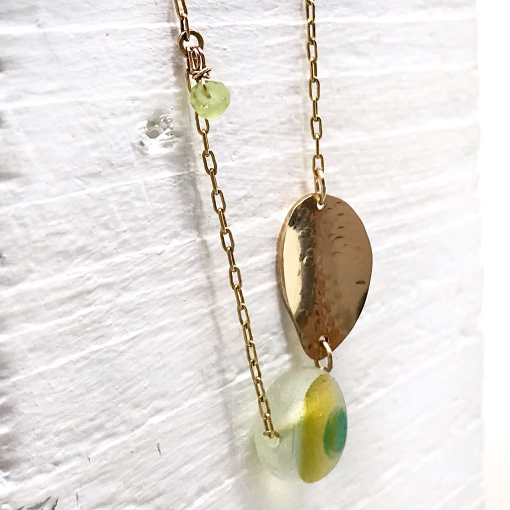 gold necklace with leaf charm and Multi-coloured Seaglass - kriket broadhurst unique jewellery