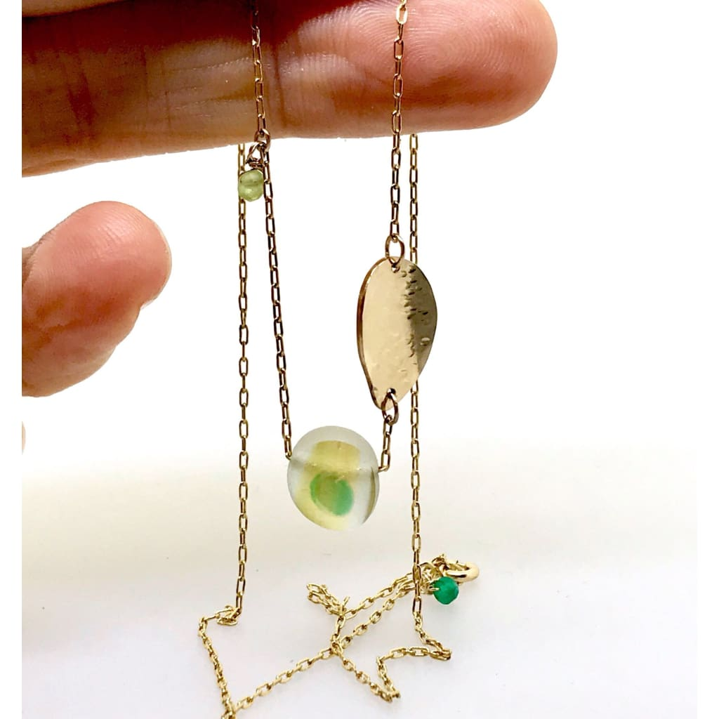 Multi-coloured green and yellow Seaglass Necklace on Gold chain - kriket broadhurst jewellery Australian made