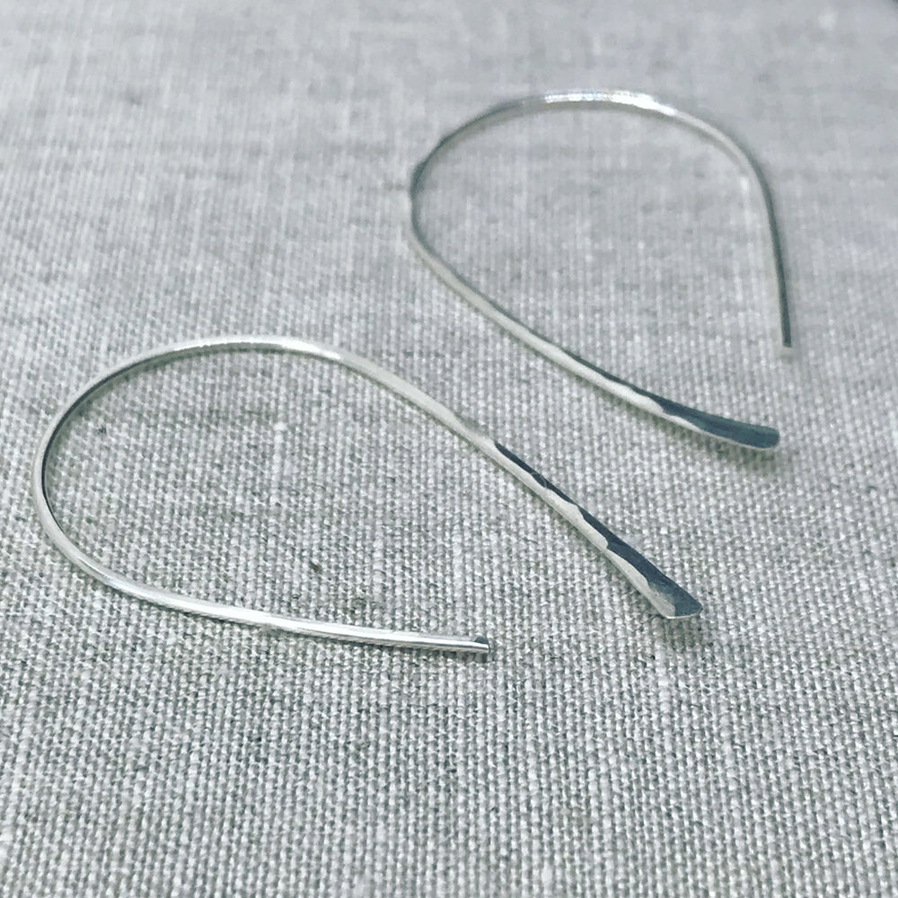 Sterling Silver Earrings Hammered Hoops  - kriket-broadhurst jewellery Sydney