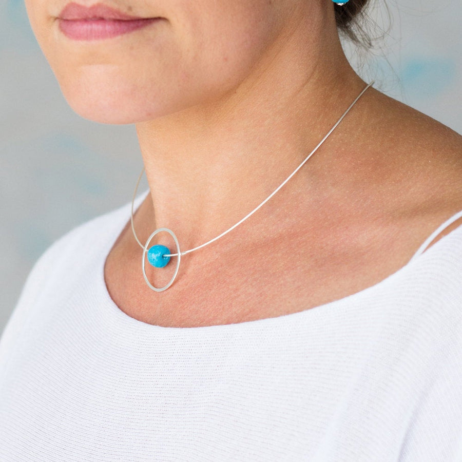 Silver Necklace – Circle Design with Turquoise Round Ceramic Bead - kriket-broadhurst jewellery