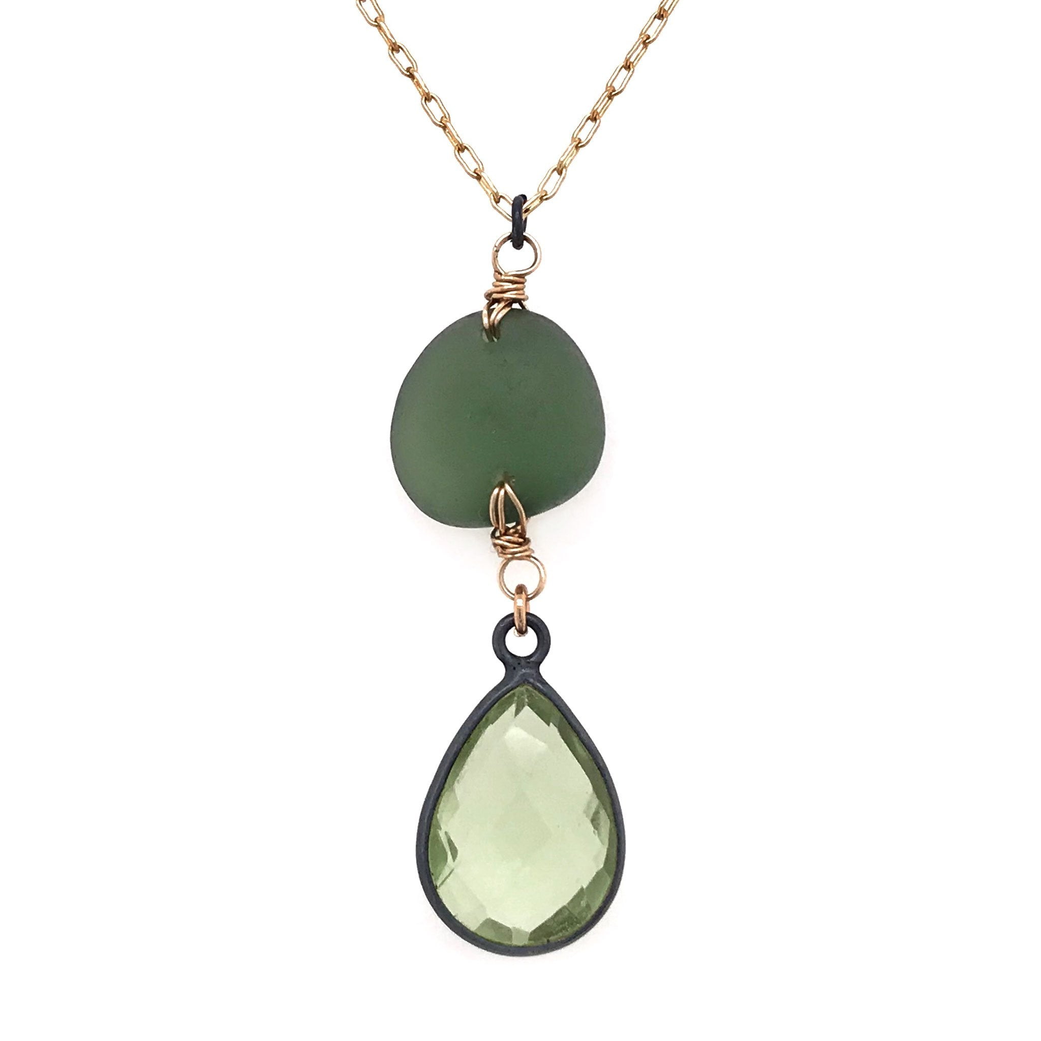sparkly green necklace with seaglass and quartz kriket Broadhurst jewellery