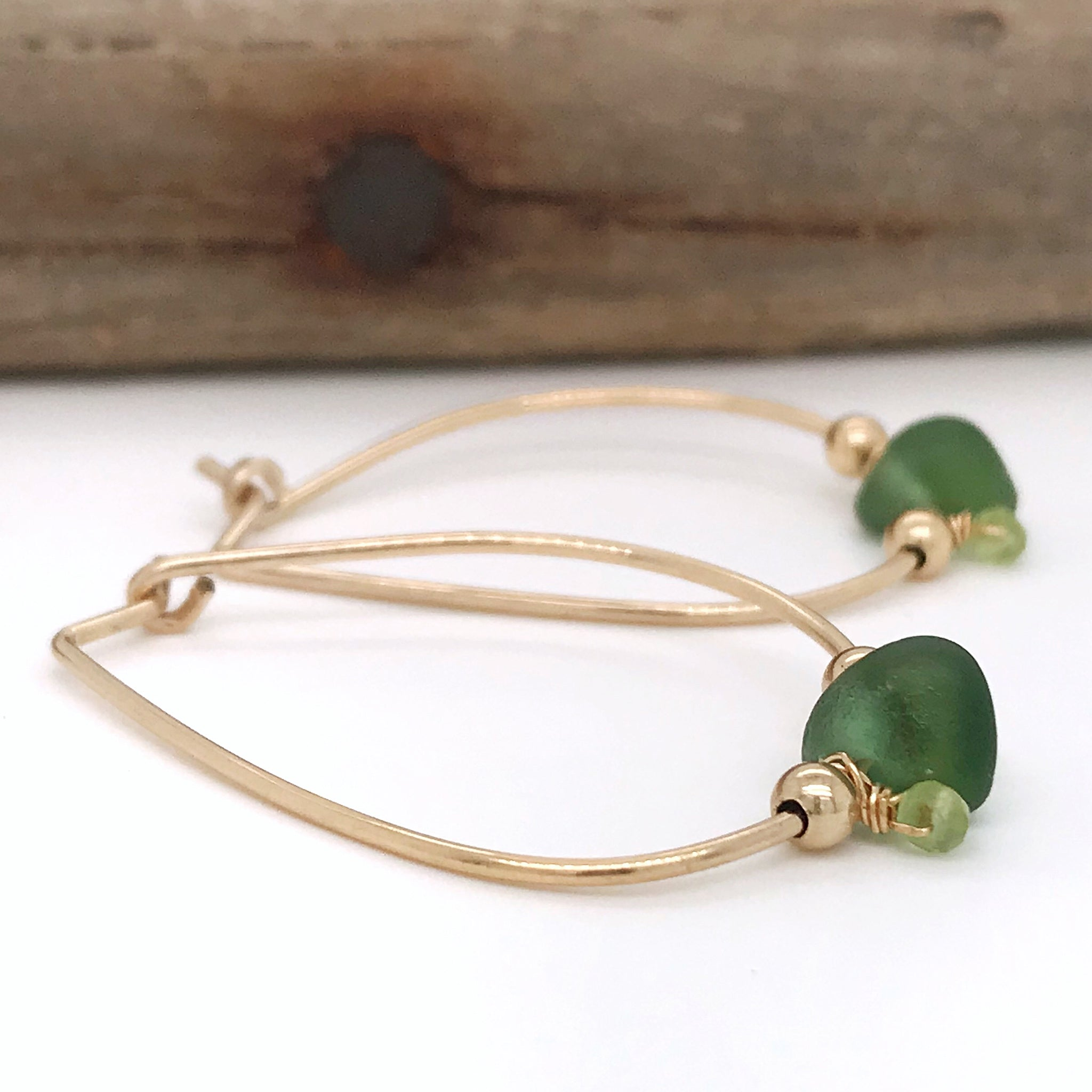 green gold hoop earrings seaglass australia